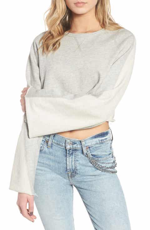 7 For All Mankind® Flare Sleeve Crop Sweatshirt