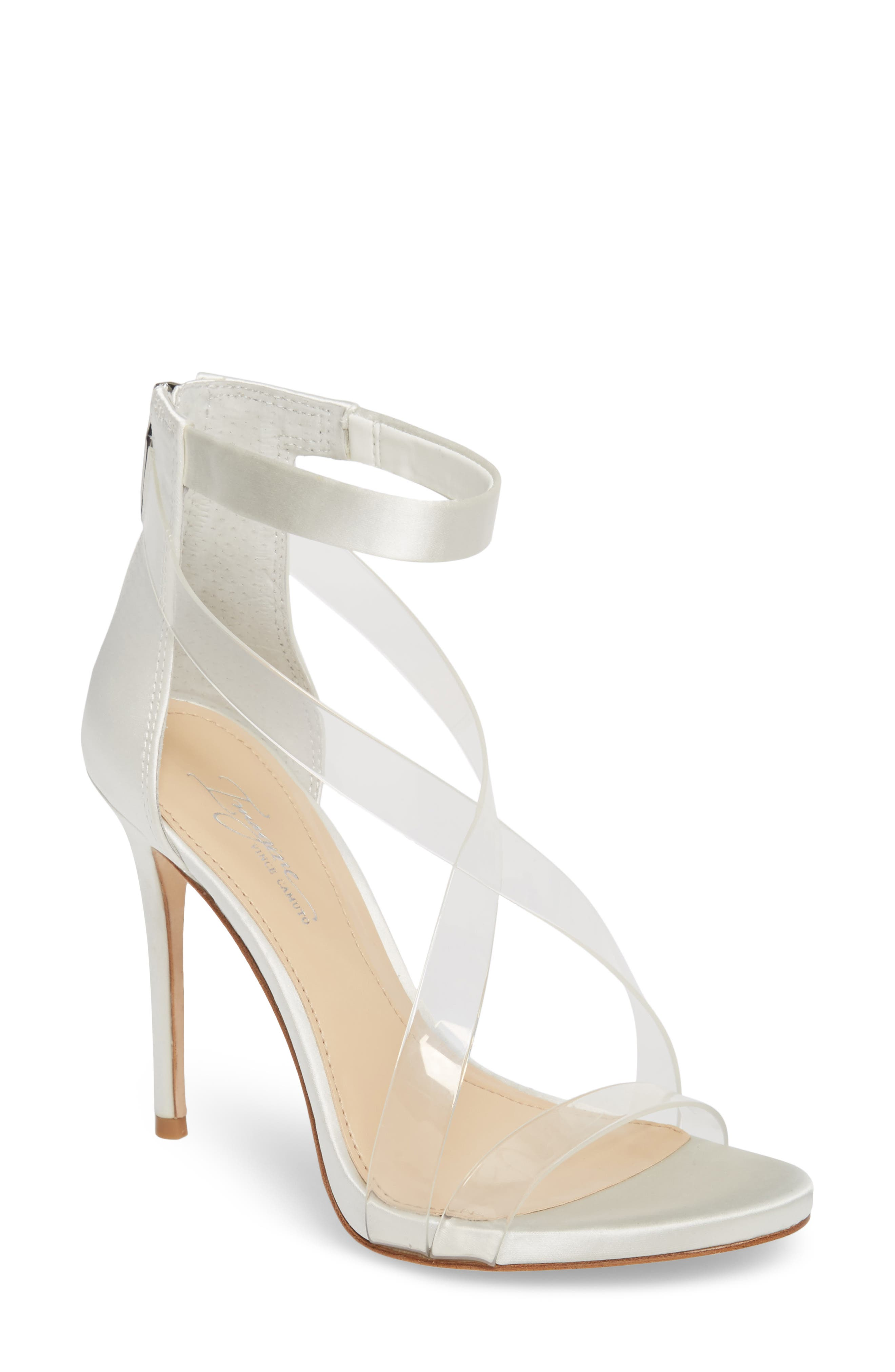Imagine Vince Camuto 'Devin' Sandal,                         Main,                         color, Clear/ Pure White Satin