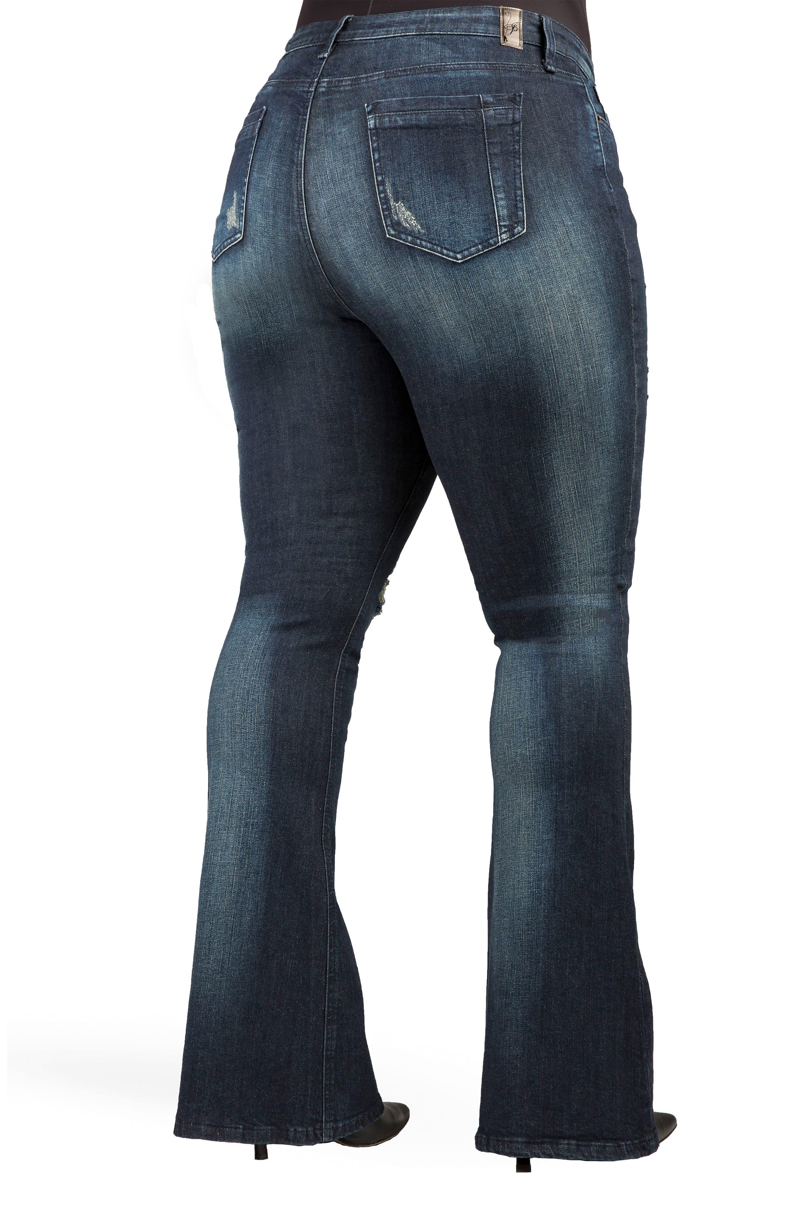 Kylie Curvy Fit Flare Leg Jeans,                             Alternate thumbnail 2, color,                             2942 Unforgiven Dark Blue