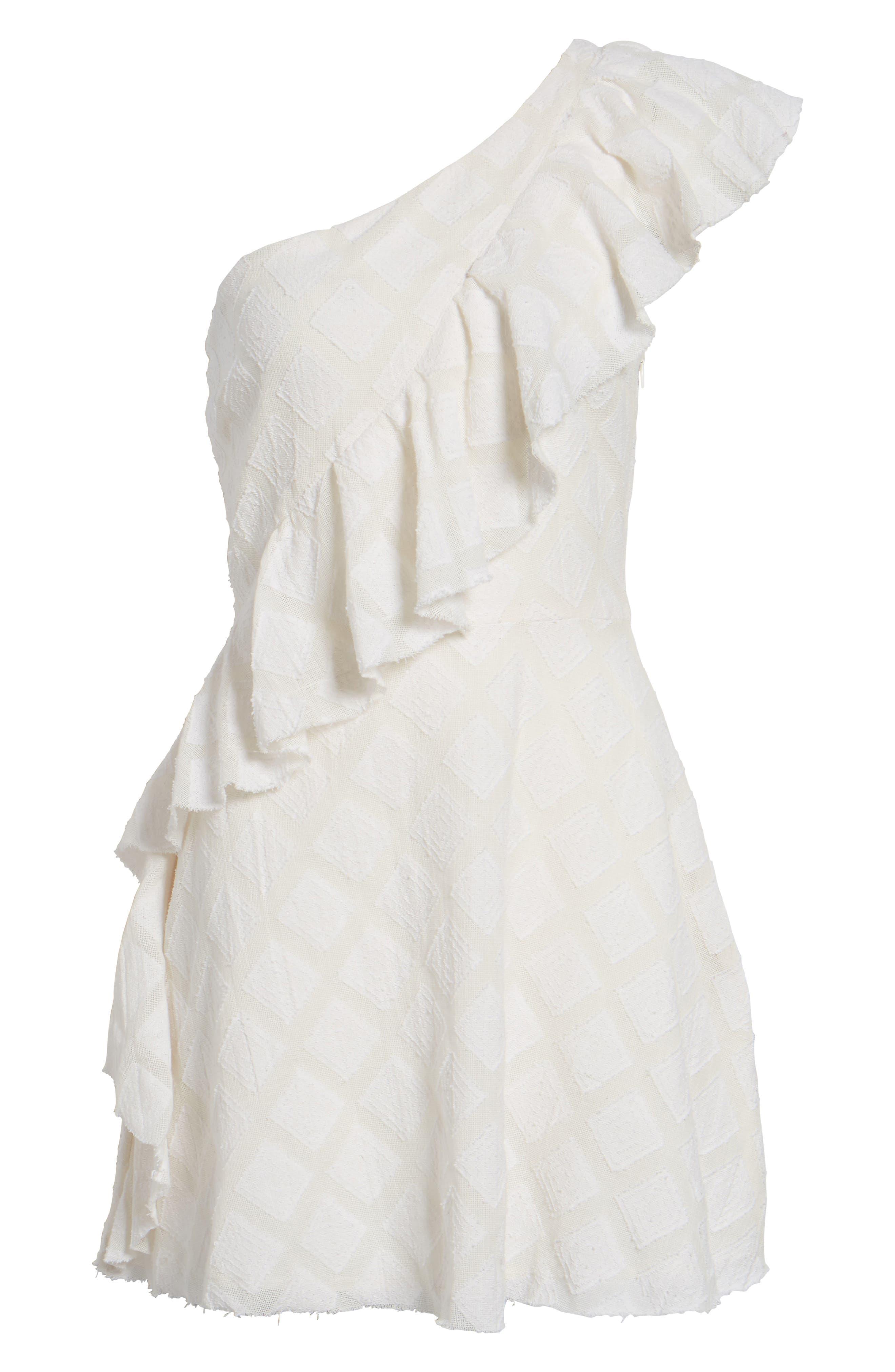Aria One-Shoulder Dress,                             Alternate thumbnail 6, color,                             Ivory