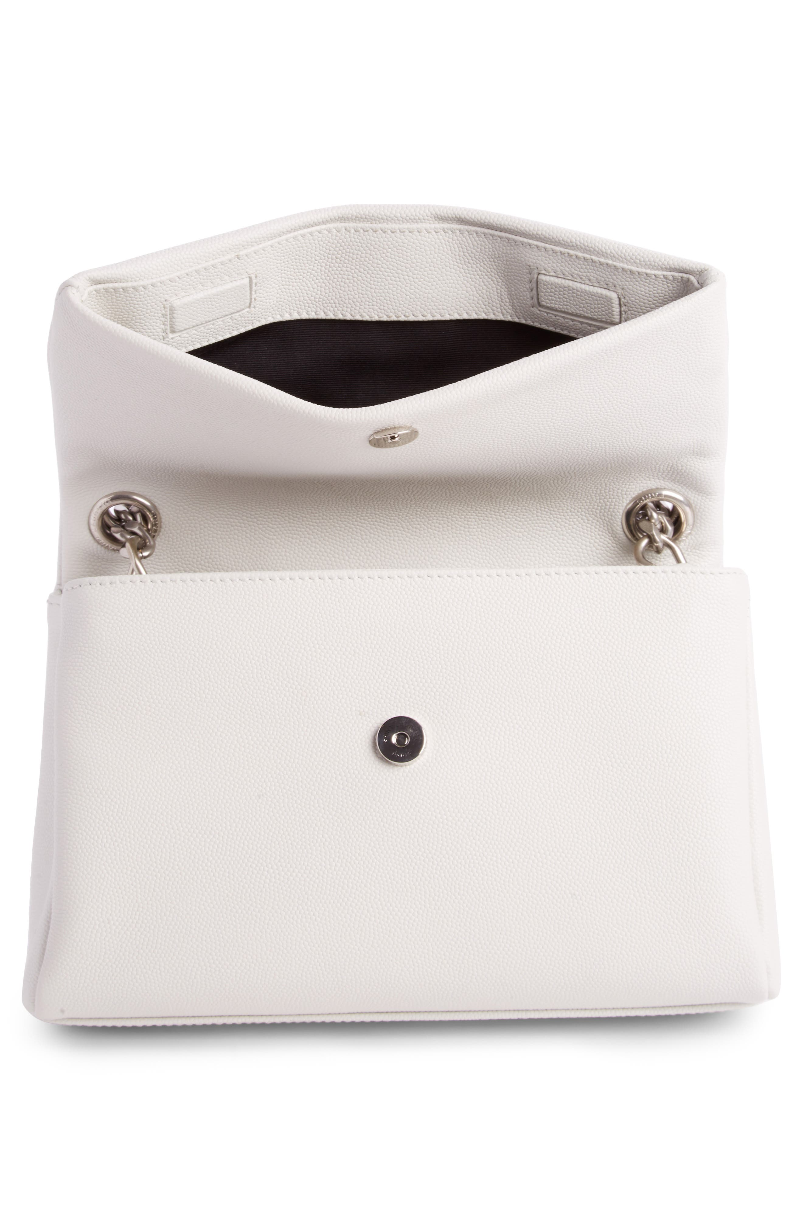 West Hollywood Calfskin Leather Messenger Bag,                             Alternate thumbnail 3, color,                             Pearl White
