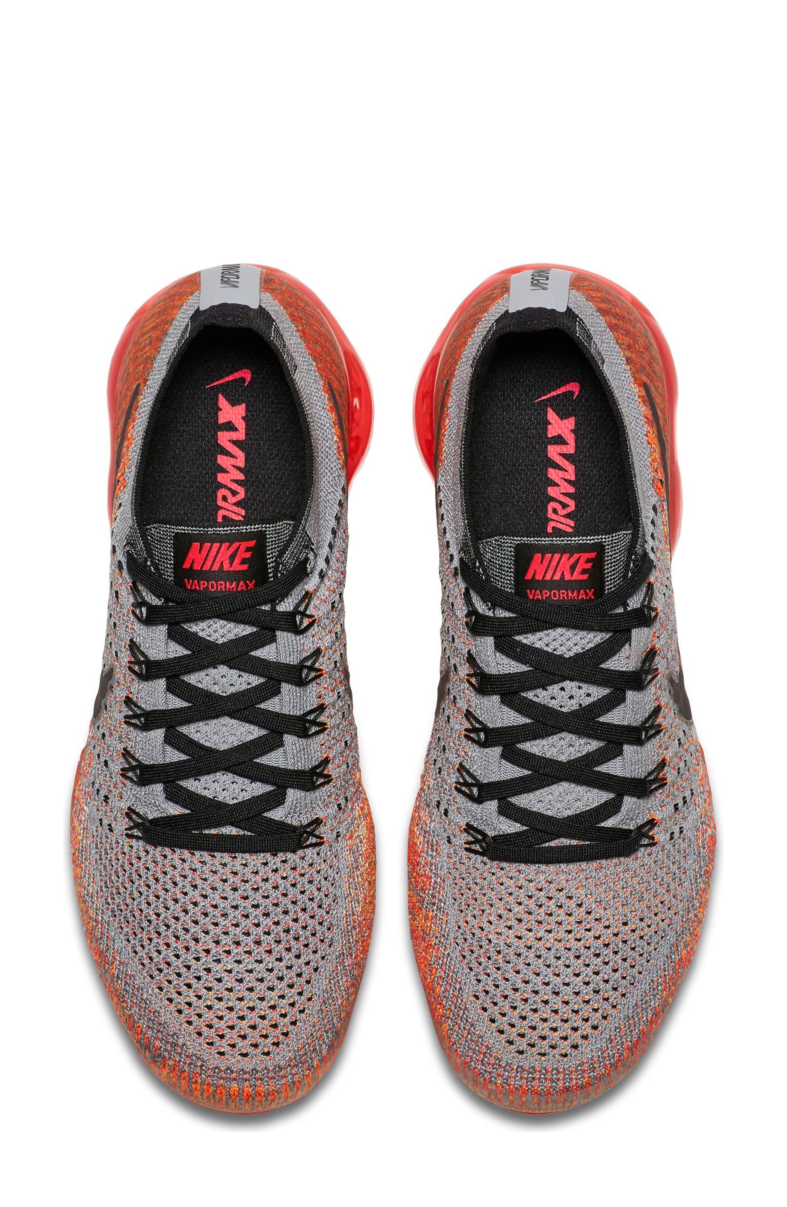 Air VaporMax Flyknit Running Shoe,                             Alternate thumbnail 4, color,                             Wolf Grey/ Black
