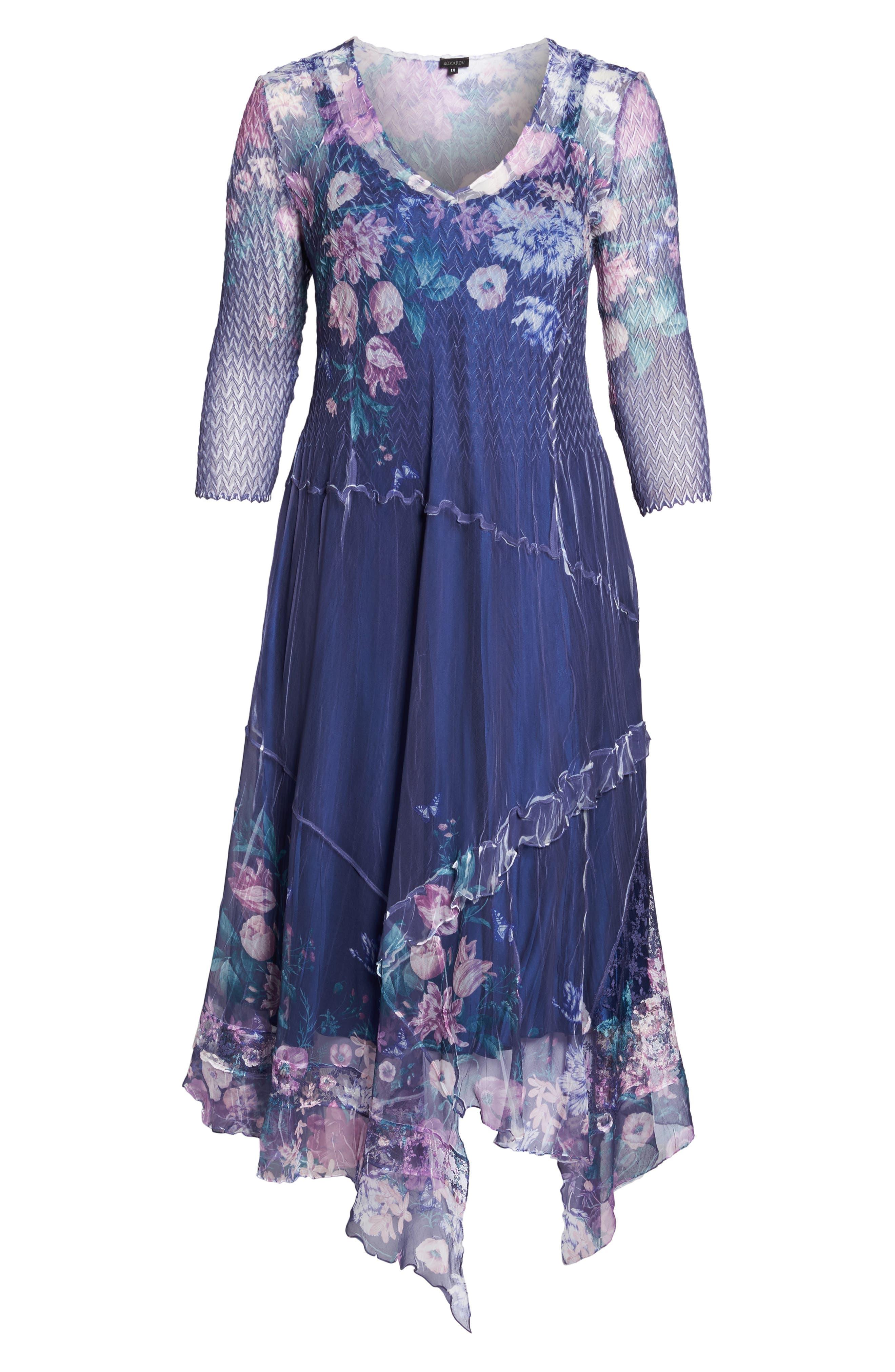 Alternate Image 6  - Komarov Chiffon Handkerchief Hem Dress (Plus Size)