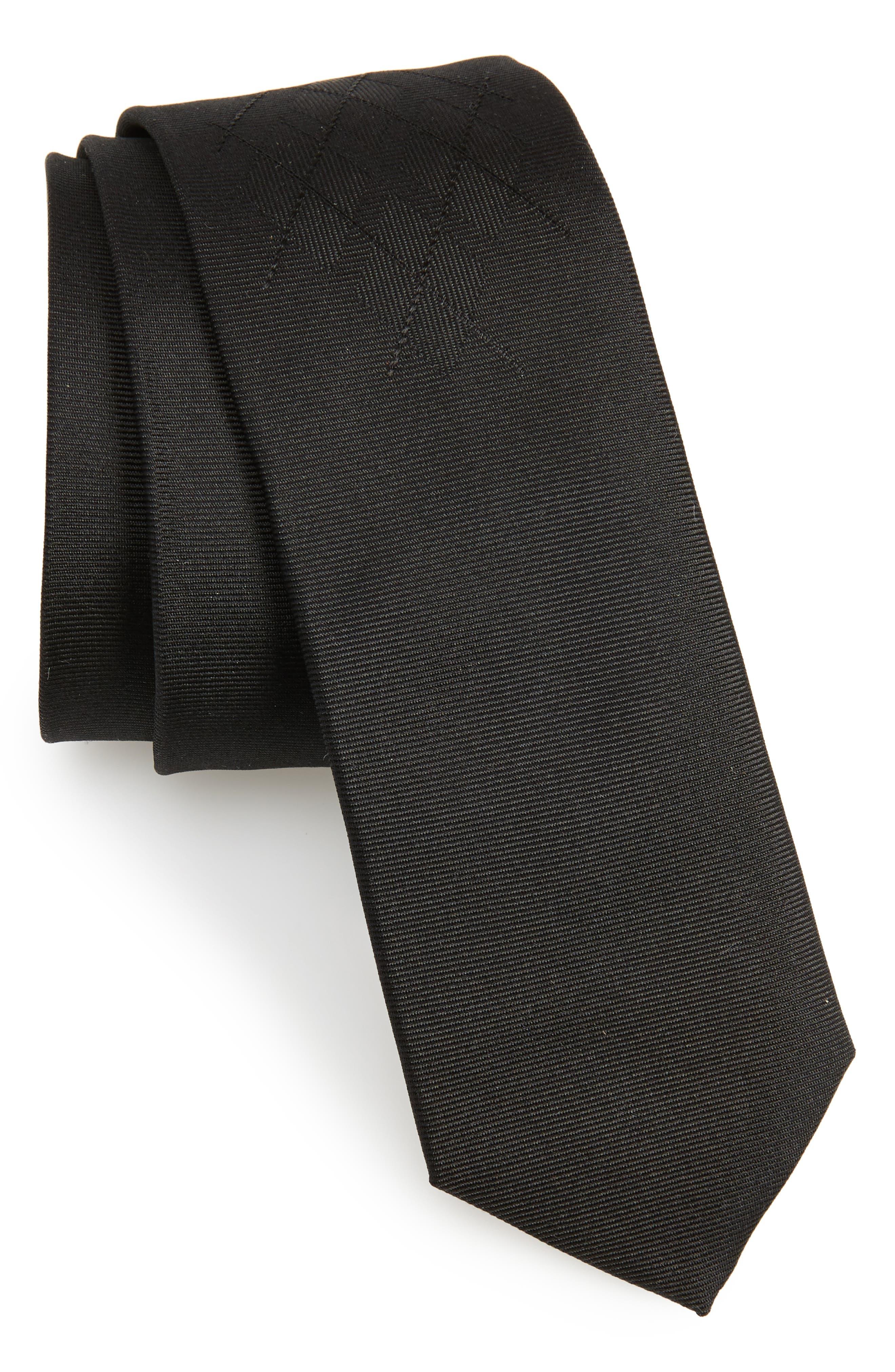 Argyle Silk Skinny Tie,                         Main,                         color, Black