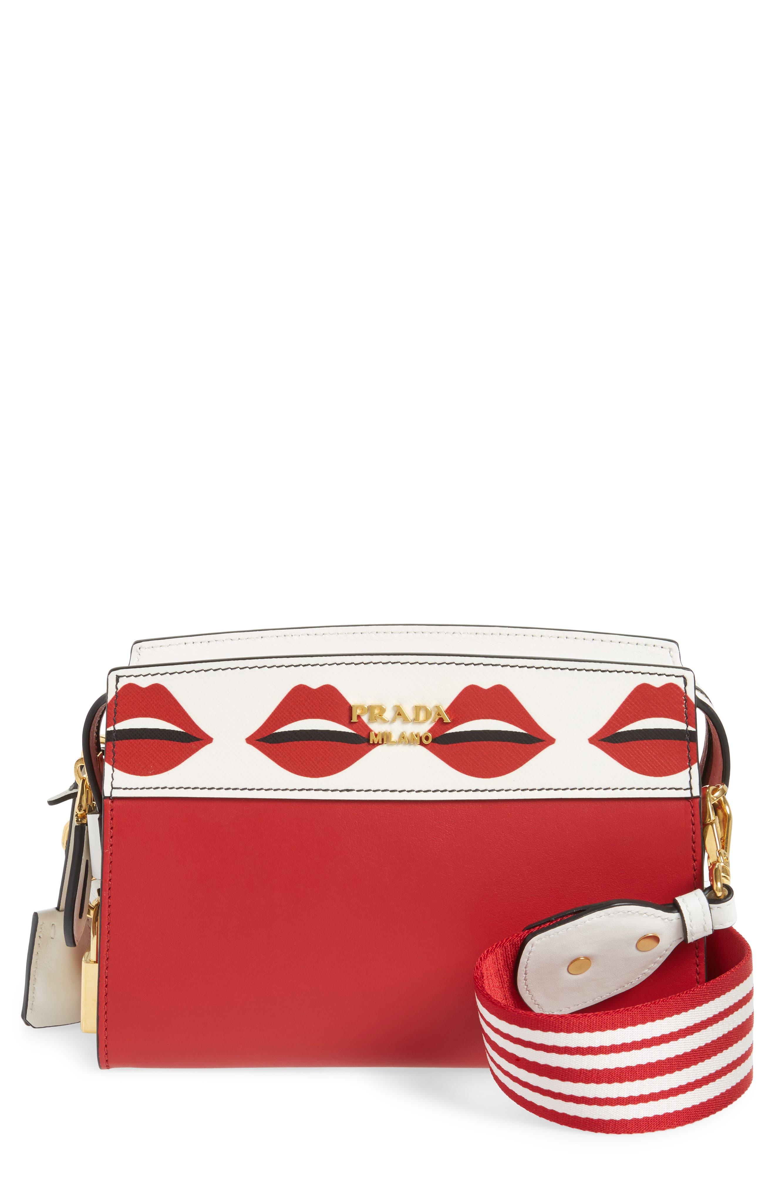 Esplanade Saffiano & City Calfskin Shoulder Bag,                         Main,                         color, Fuoco
