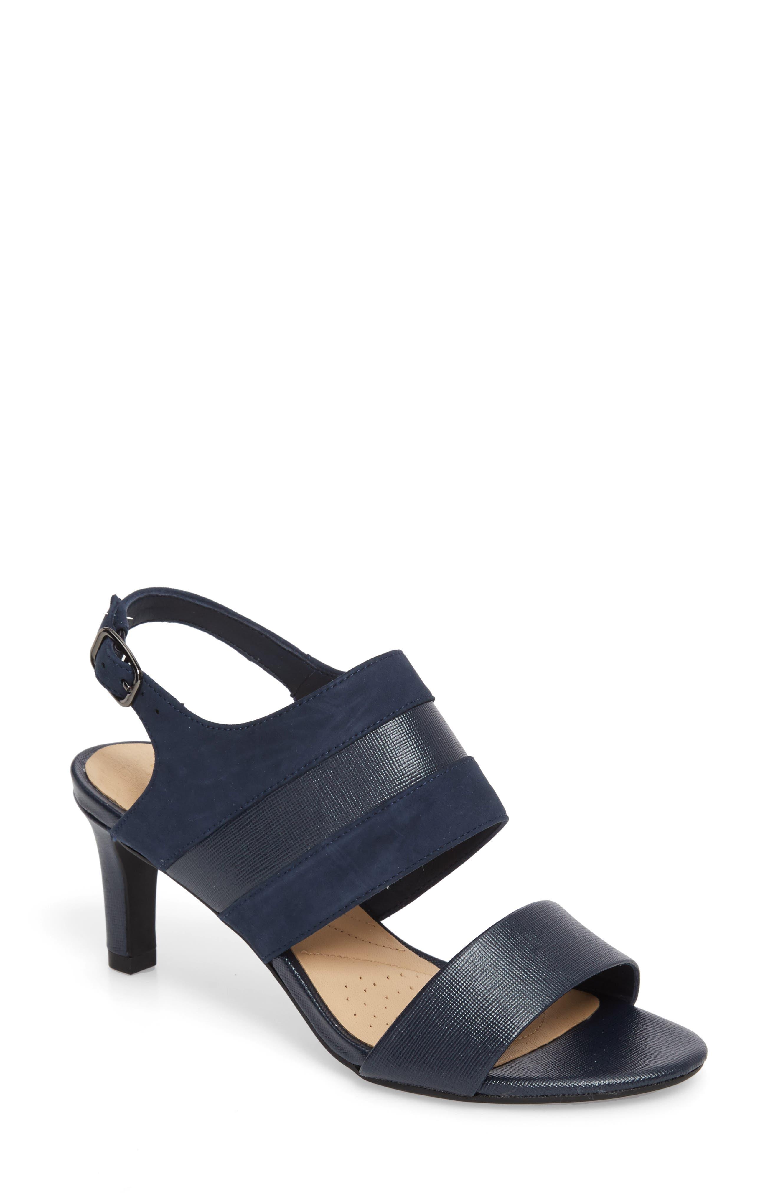 Laureti Joy Slingback Sandal,                         Main,                         color, Navy Combi Suede