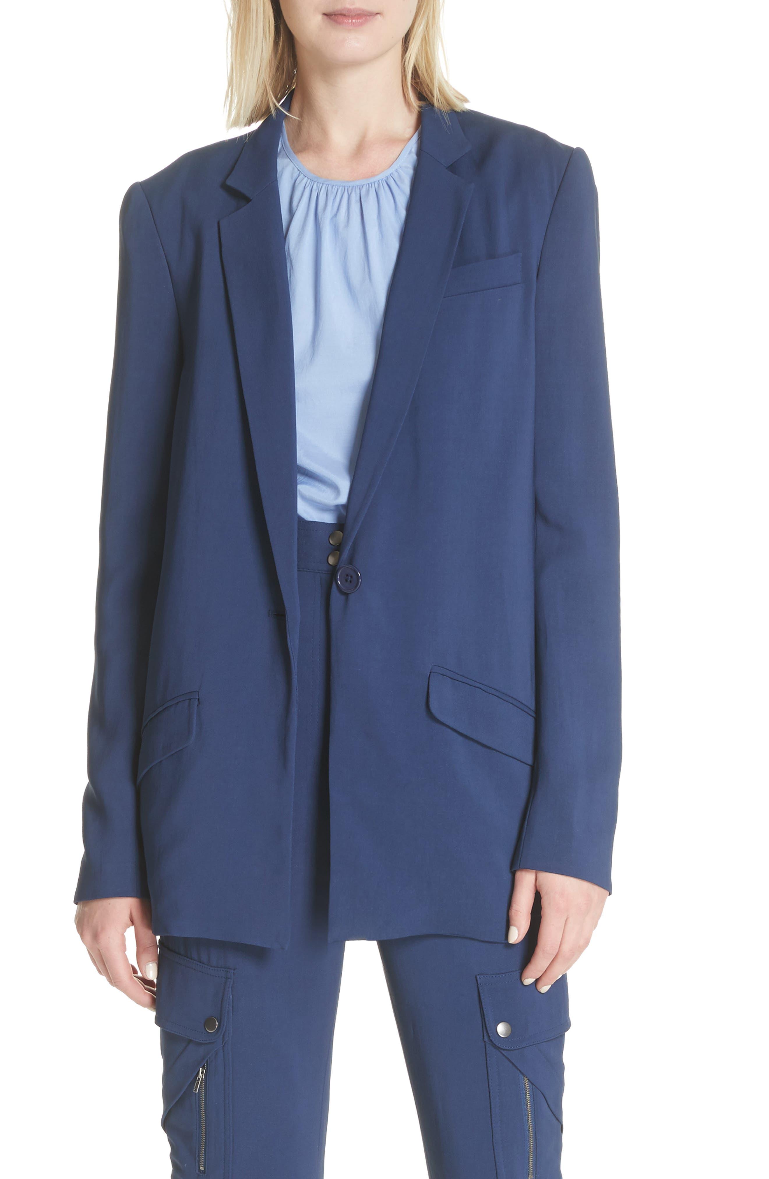 Boxy Suit Jacket,                             Main thumbnail 1, color,                             India Ink