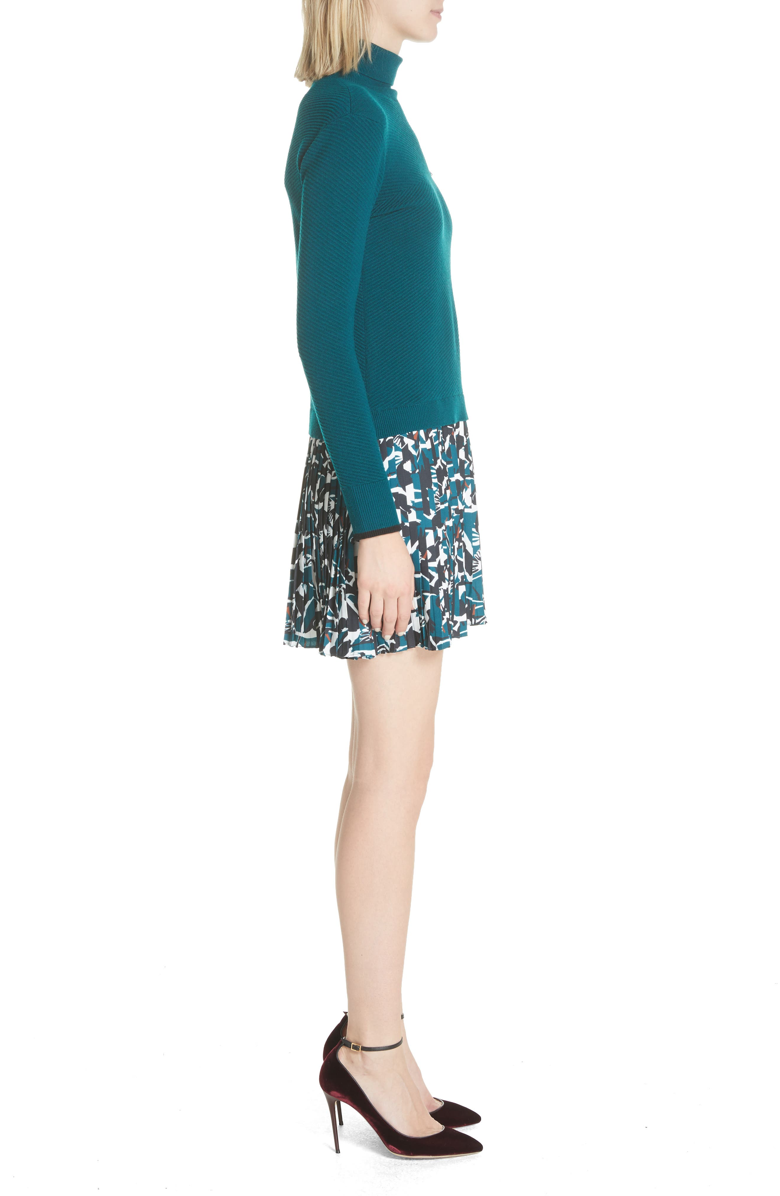 Colour by Numbers Mock Two-Piece Dress,                             Alternate thumbnail 3, color,                             Teal
