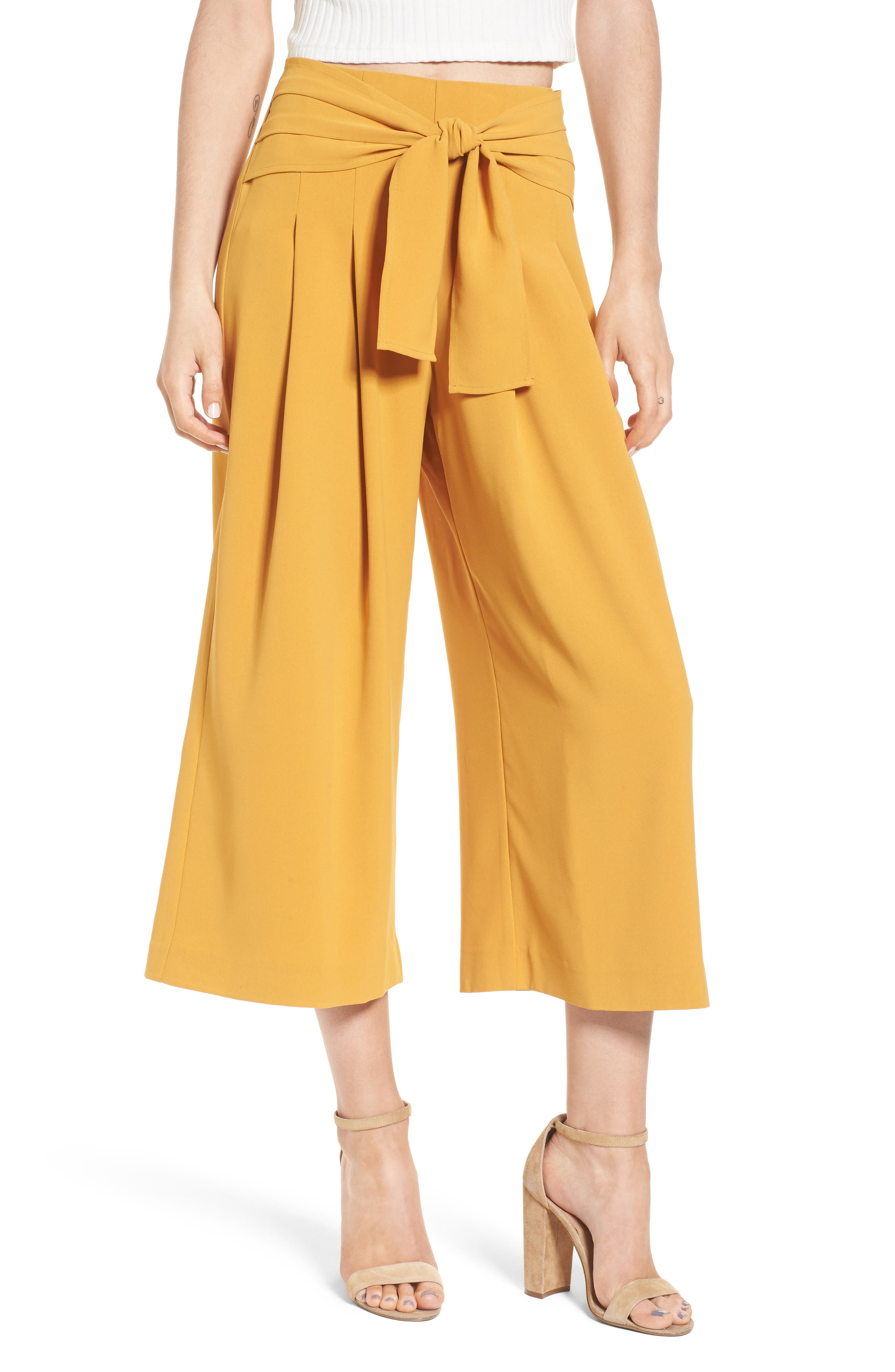 Crop Tie Waist Pants,                             Main thumbnail 1, color,                             Marigold
