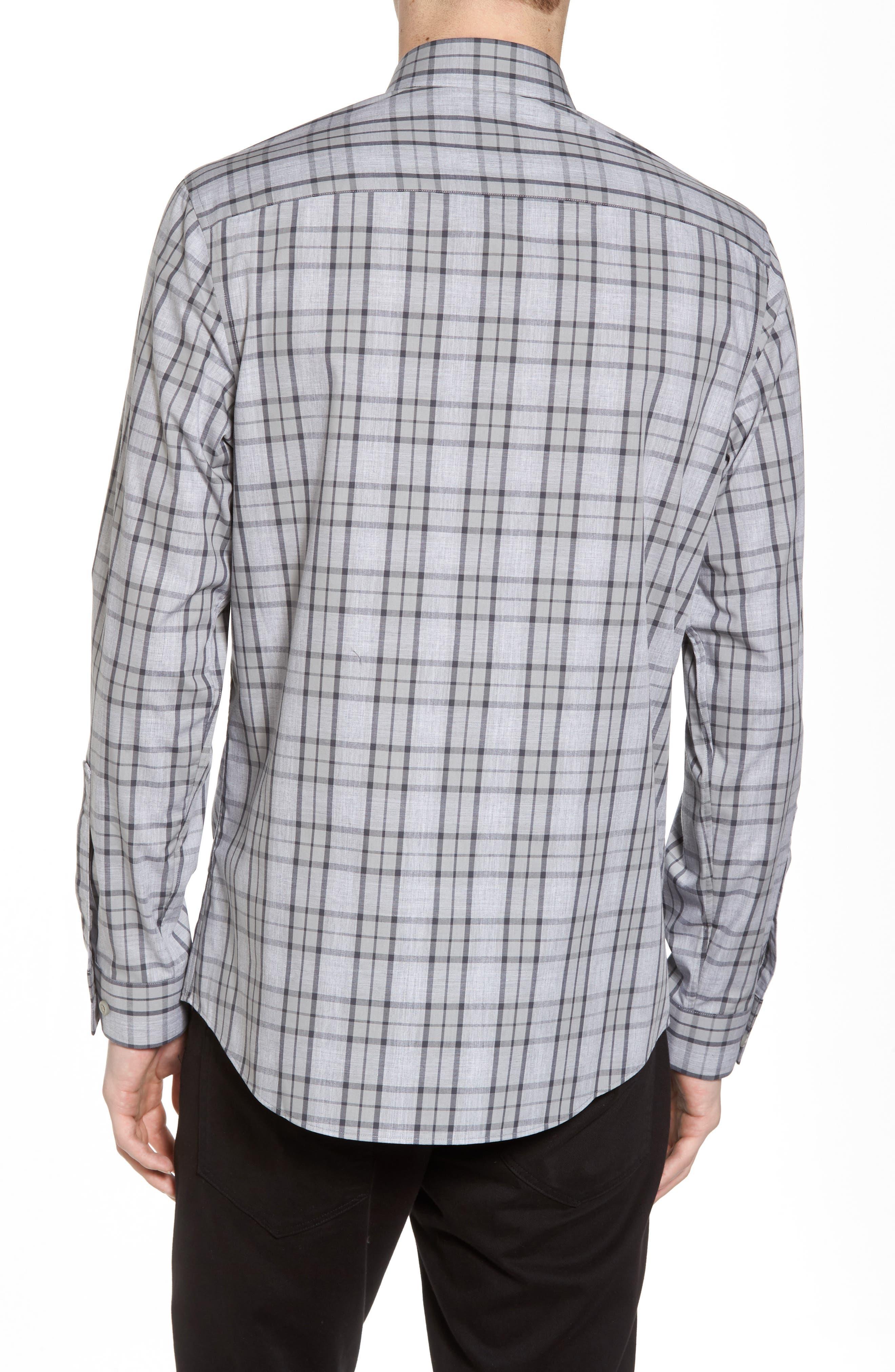 Trim Fit Plaid Sport Shirt,                             Alternate thumbnail 2, color,                             Grey Micro Heather Plaid