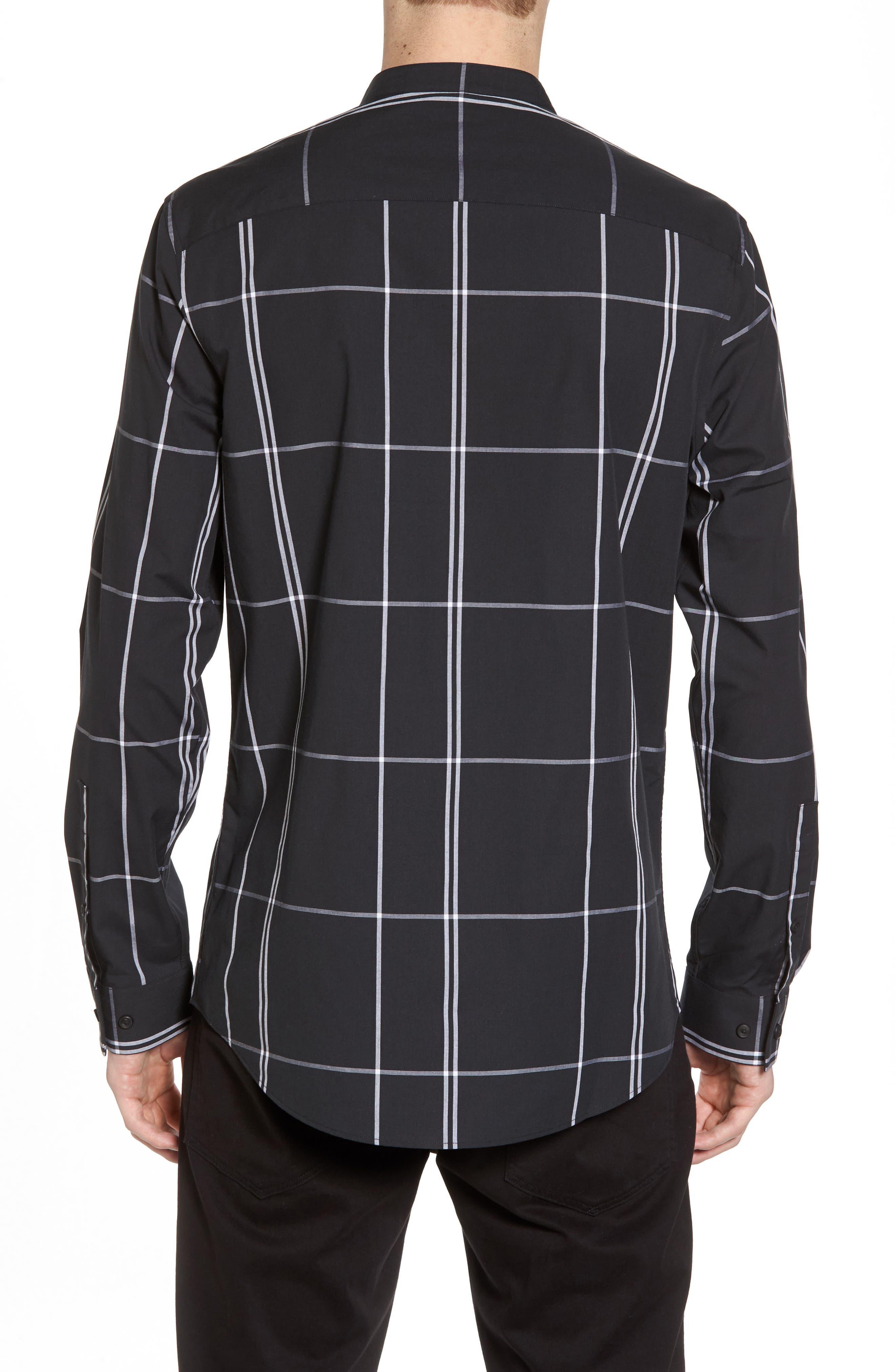 Trim Fit Windowpane Sport Shirt,                             Alternate thumbnail 3, color,                             Black Exploded Pane