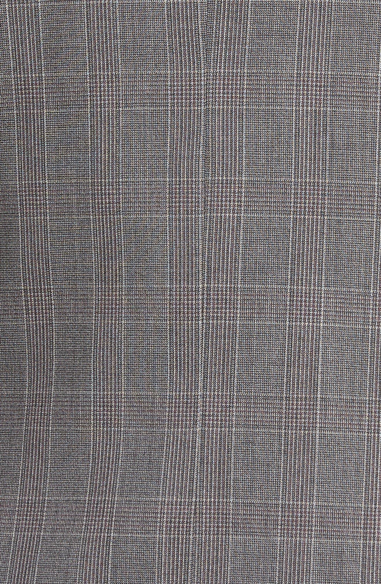 Jay Trim Fit Plaid Wool Suit,                             Alternate thumbnail 7, color,                             Grey