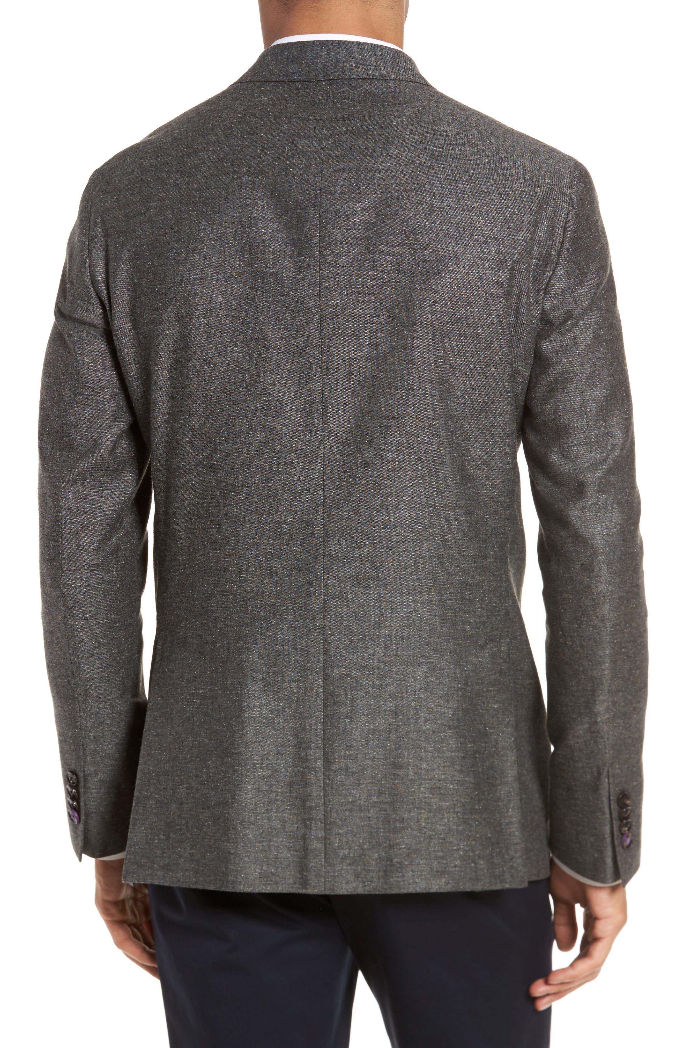 Konan Trim Fit Silk & Linen Blazer,                             Alternate thumbnail 2, color,                             Grey