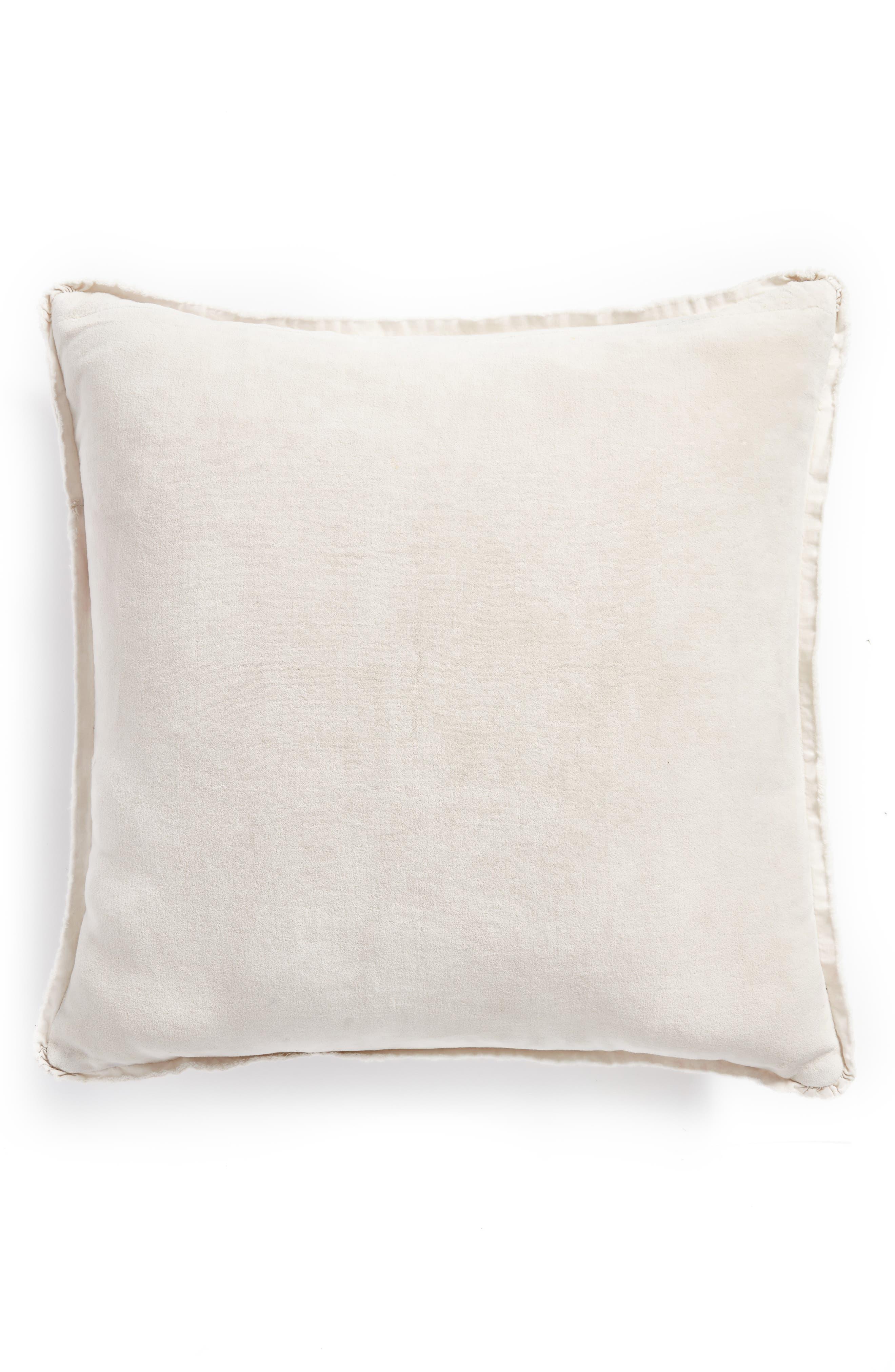Stonewash Velvet Accent Pillow,                             Alternate thumbnail 3, color,                             Grey Chime