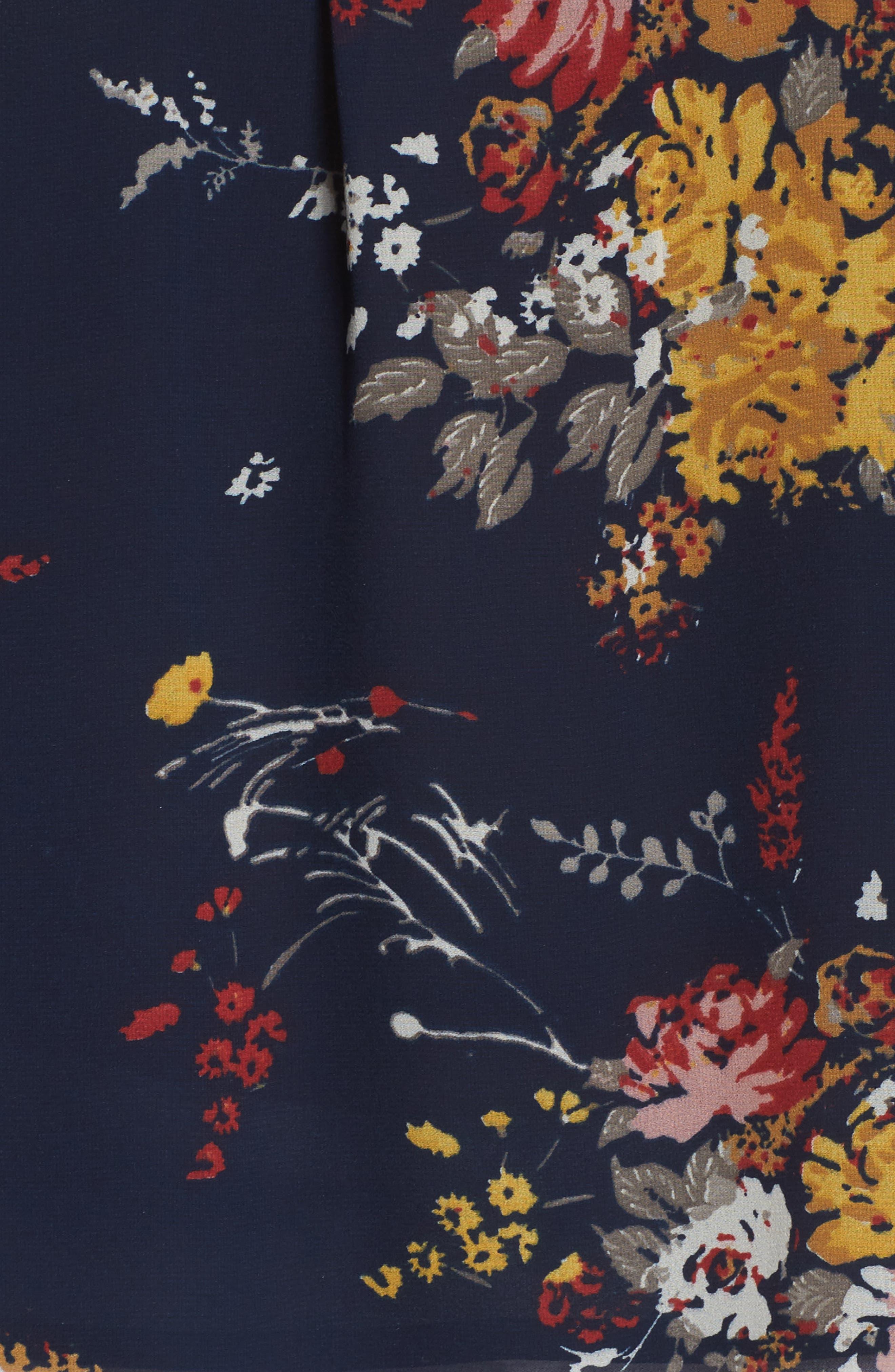 Floral Print Cold Shoulder Top,                             Alternate thumbnail 5, color,                             Navy Multi