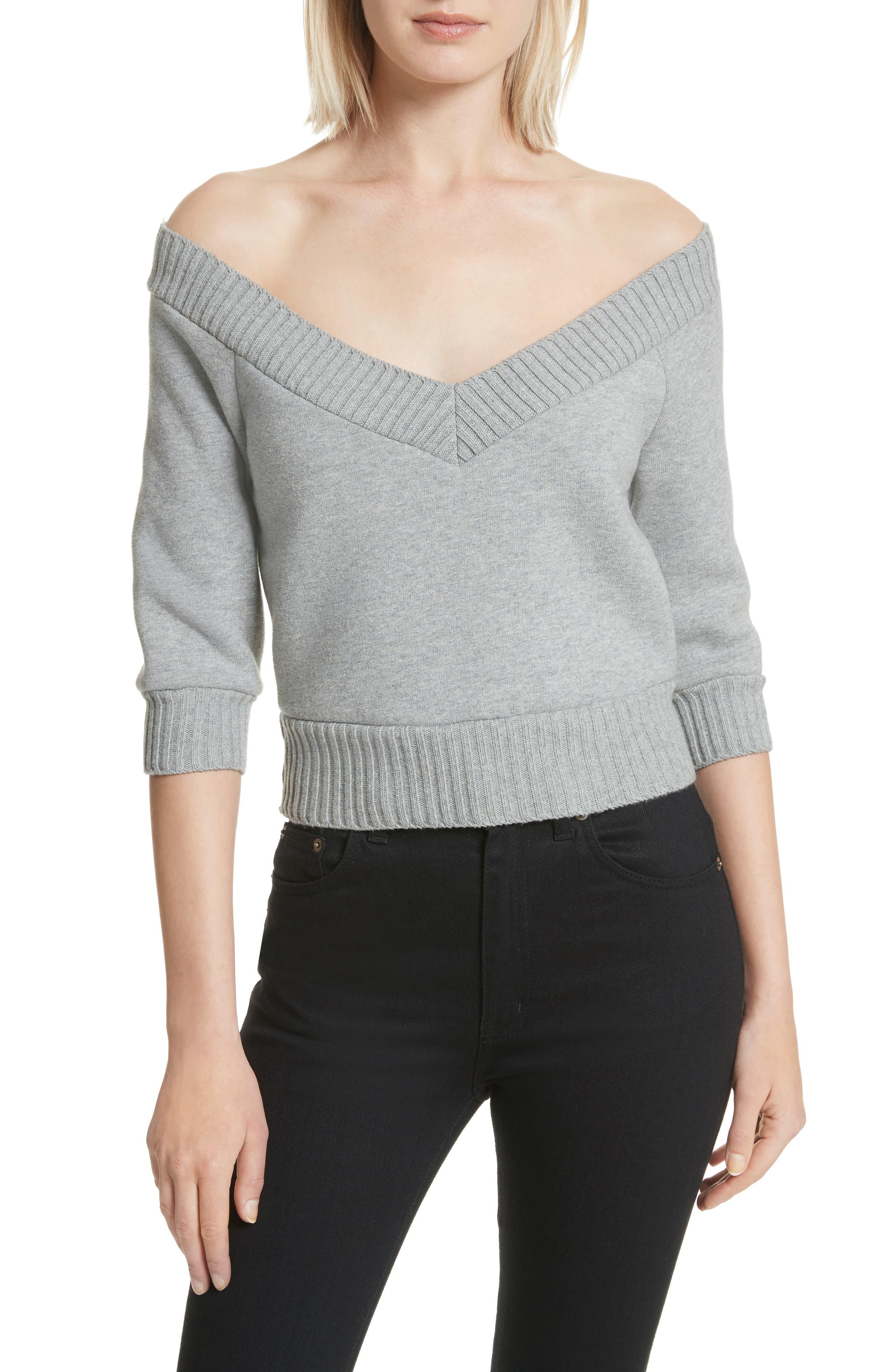 T by Alexander Wang Dense Off the Shoulder V-Neck Fleece Sweater