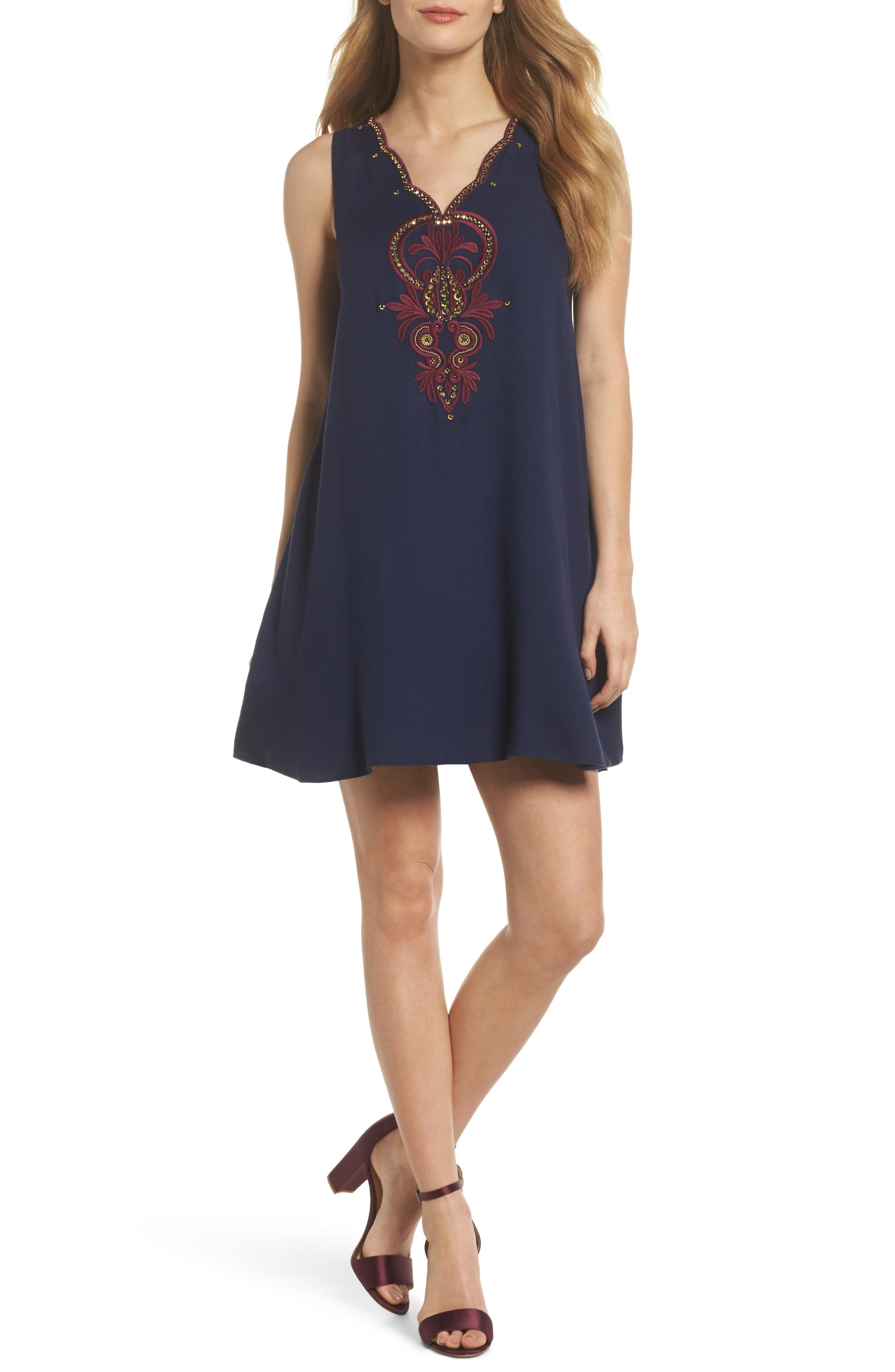 Owen Embroidered Trapeze Dress,                         Main,                         color, True Navy