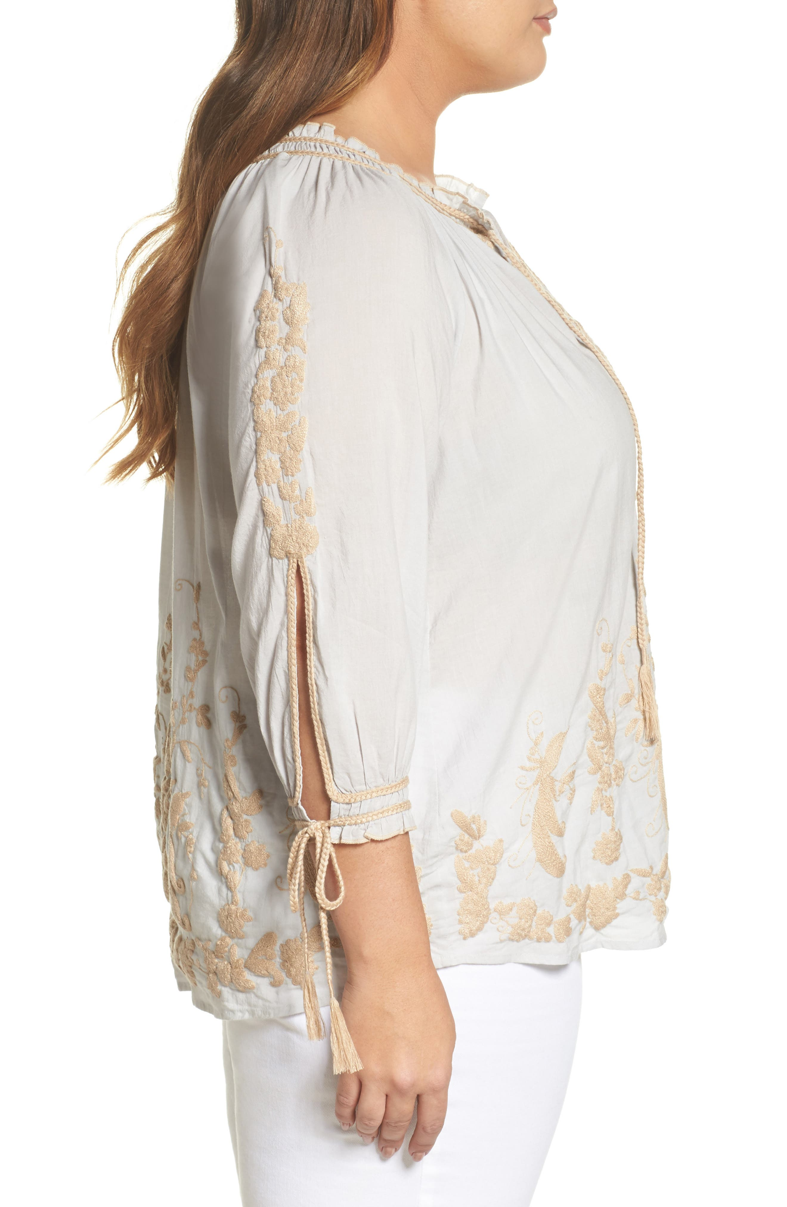 Embroidered Peasant Top,                             Alternate thumbnail 3, color,                             Ice