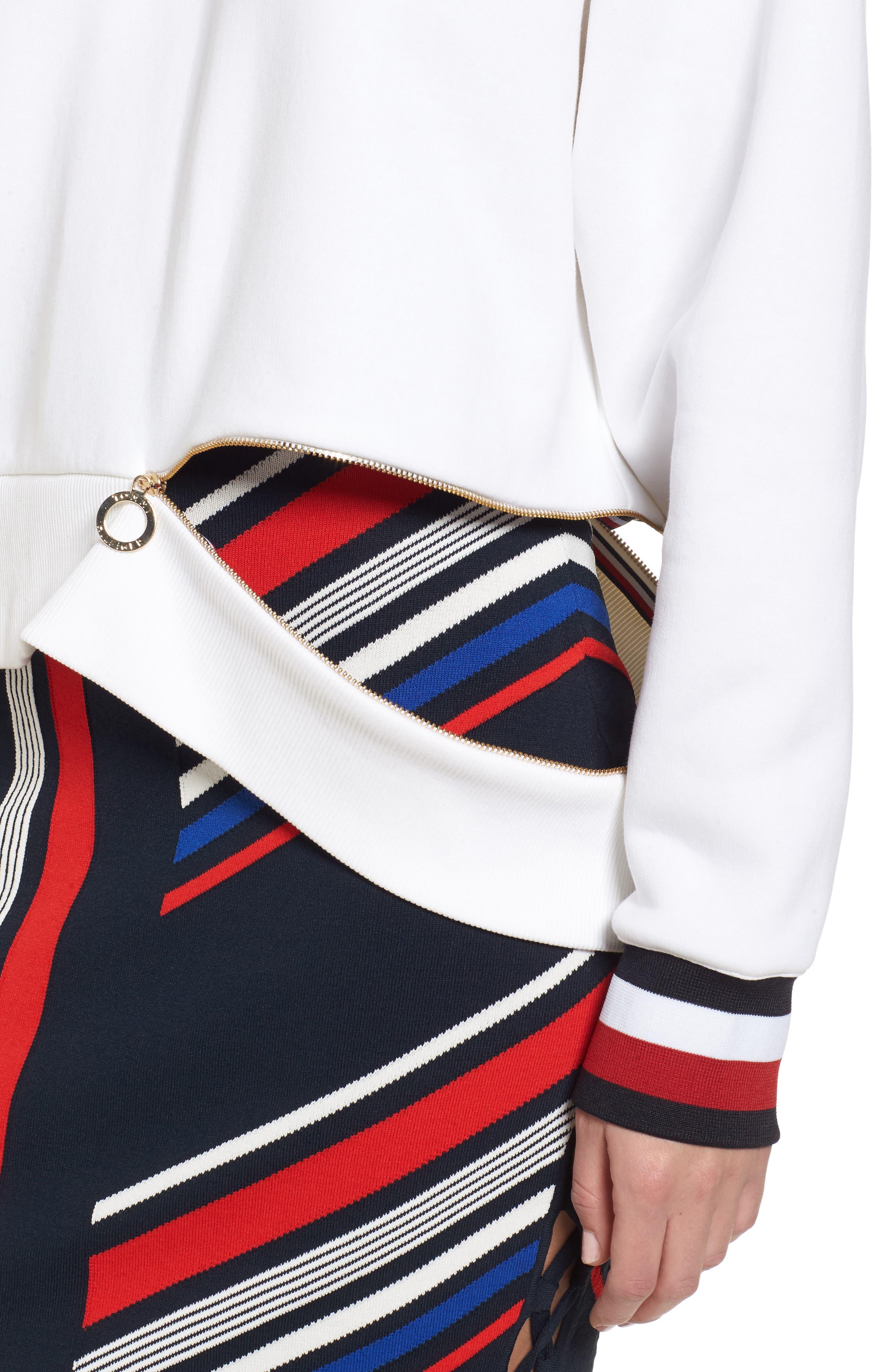 x Gigi Hadid Cold Shoulder Sweatshirt,                             Alternate thumbnail 6, color,                             Classic White