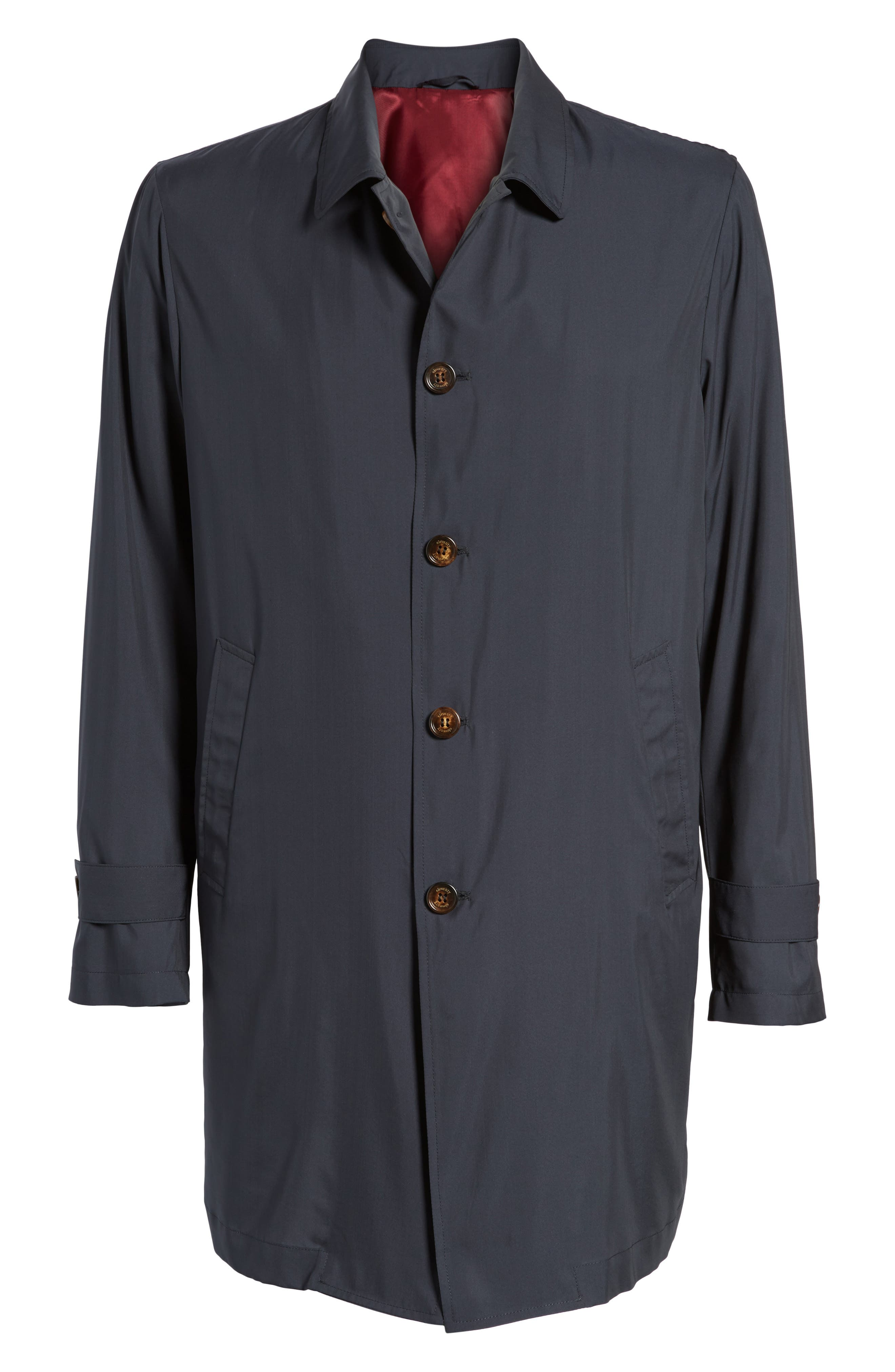 Trim Fit Water-Resistant Silk Topcoat,                             Alternate thumbnail 6, color,                             Navy