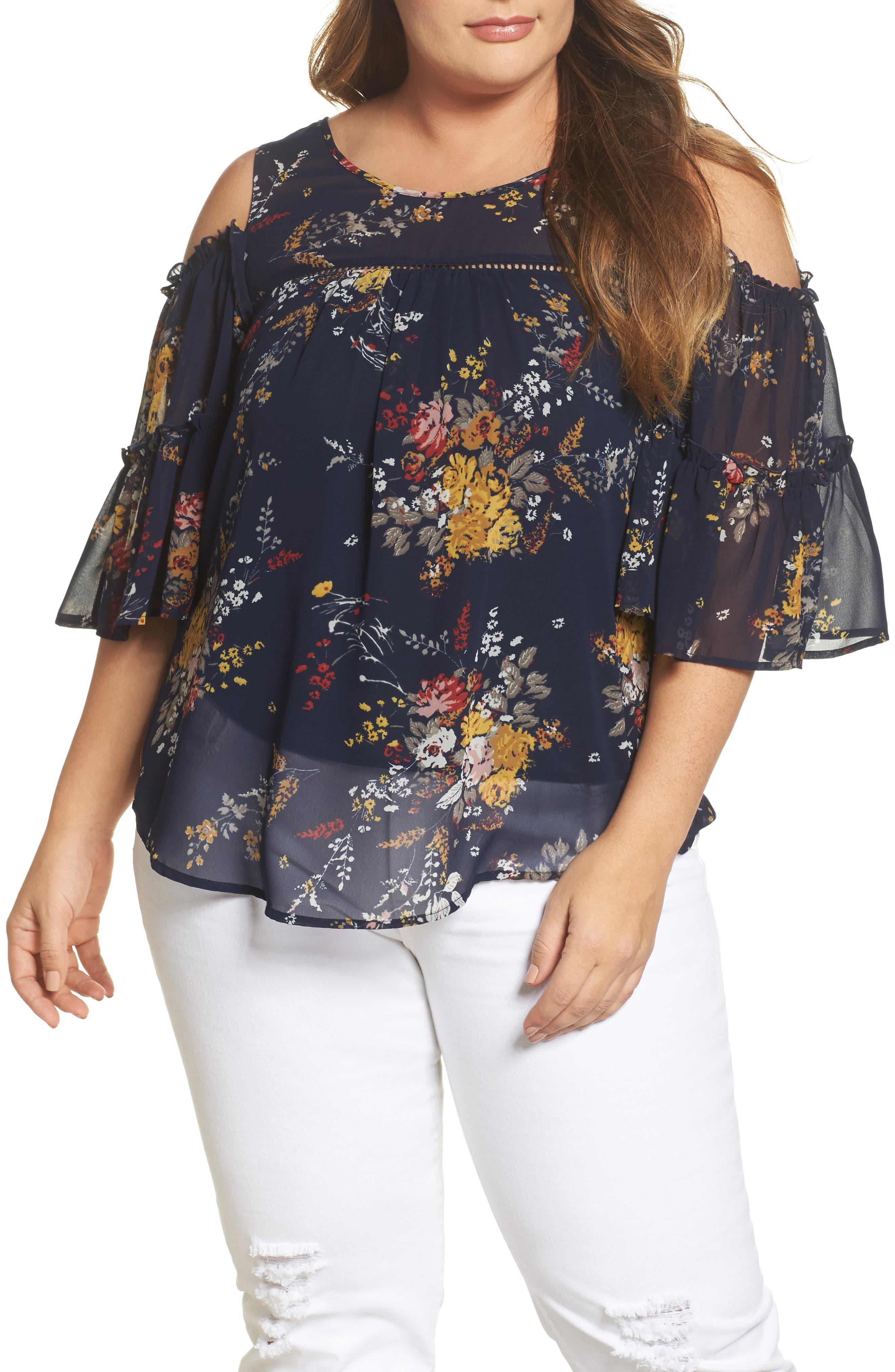 Floral Print Cold Shoulder Top,                         Main,                         color, Navy Multi