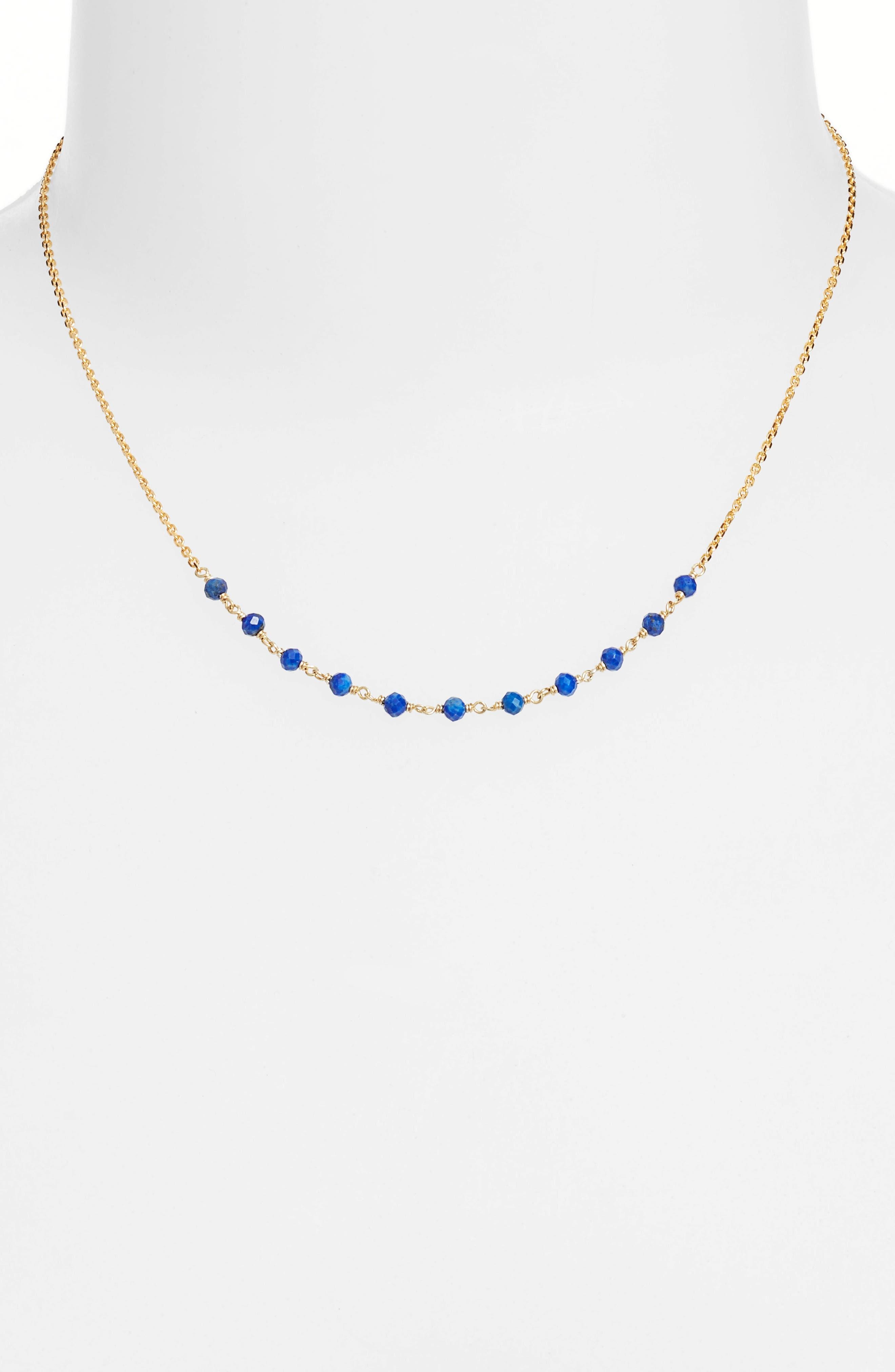 Gold & Bead Necklace,                             Main thumbnail 1, color,                             Gold/ Lapis