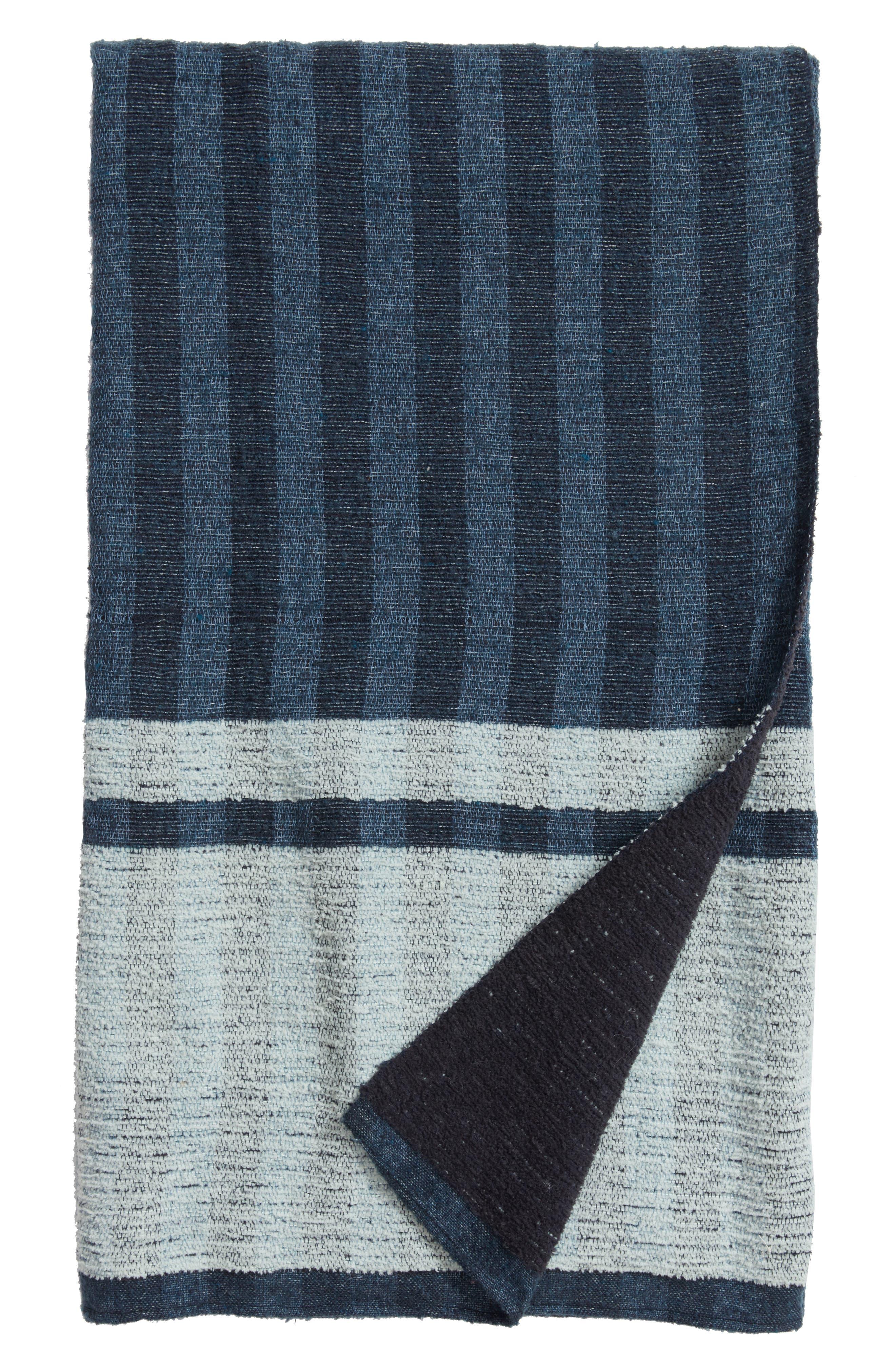 Reversible Stripe Throw,                         Main,                         color, Navy Armada