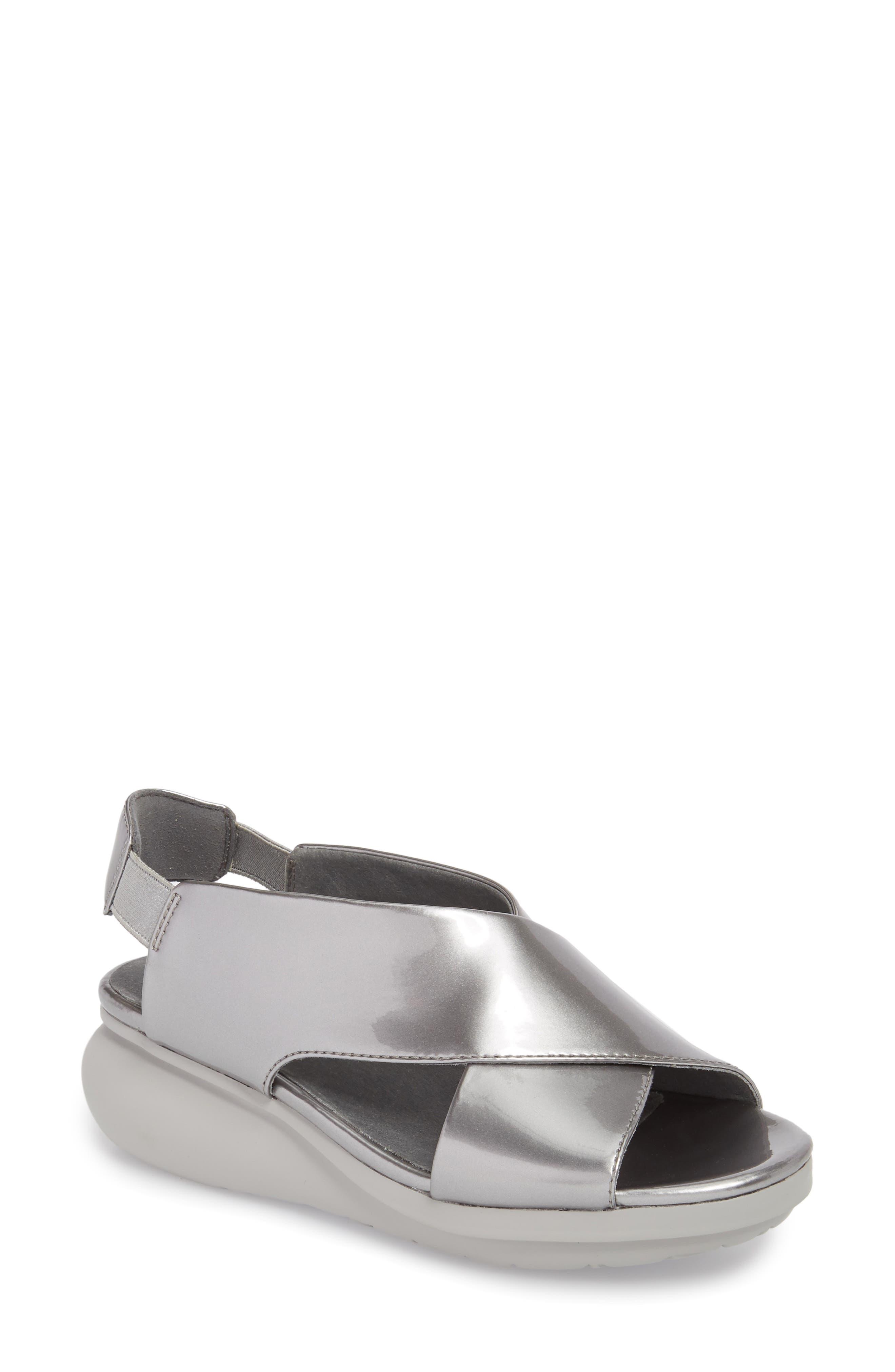 Balloon Wedge Sandal,                             Main thumbnail 1, color,                             Medium Gray Leather