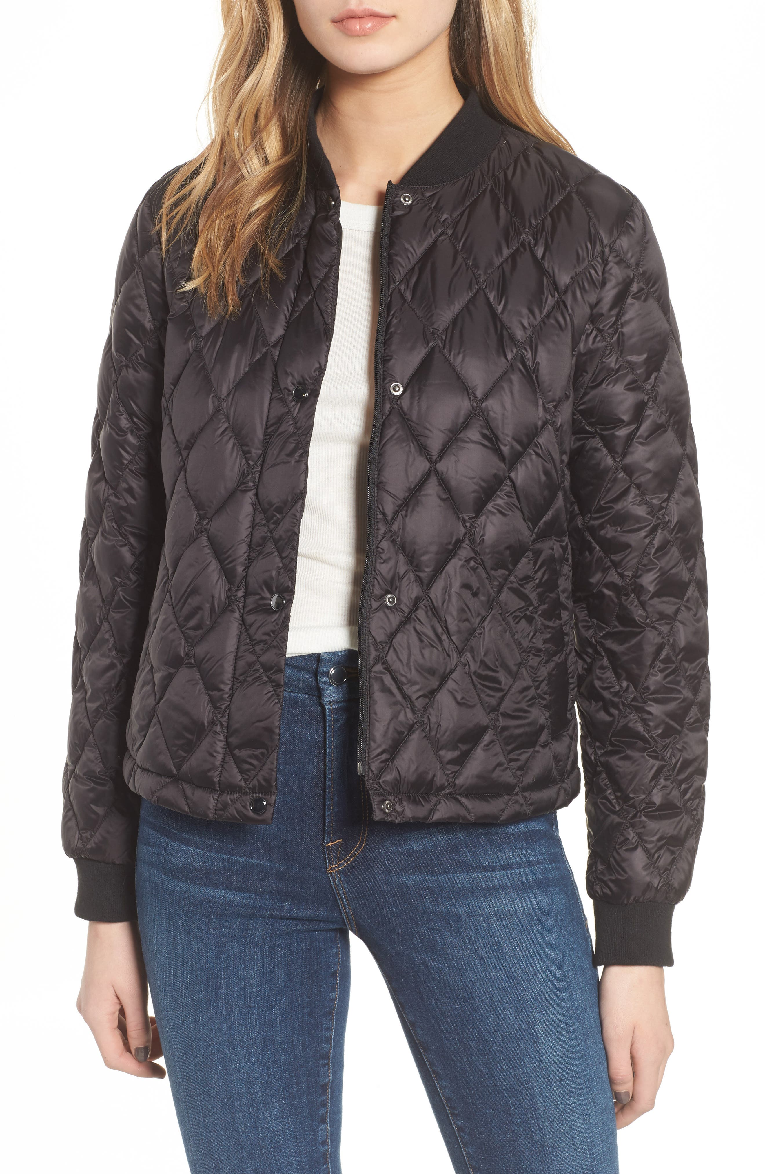 Quilted Down Bomber Jacket,                             Main thumbnail 1, color,                             Black