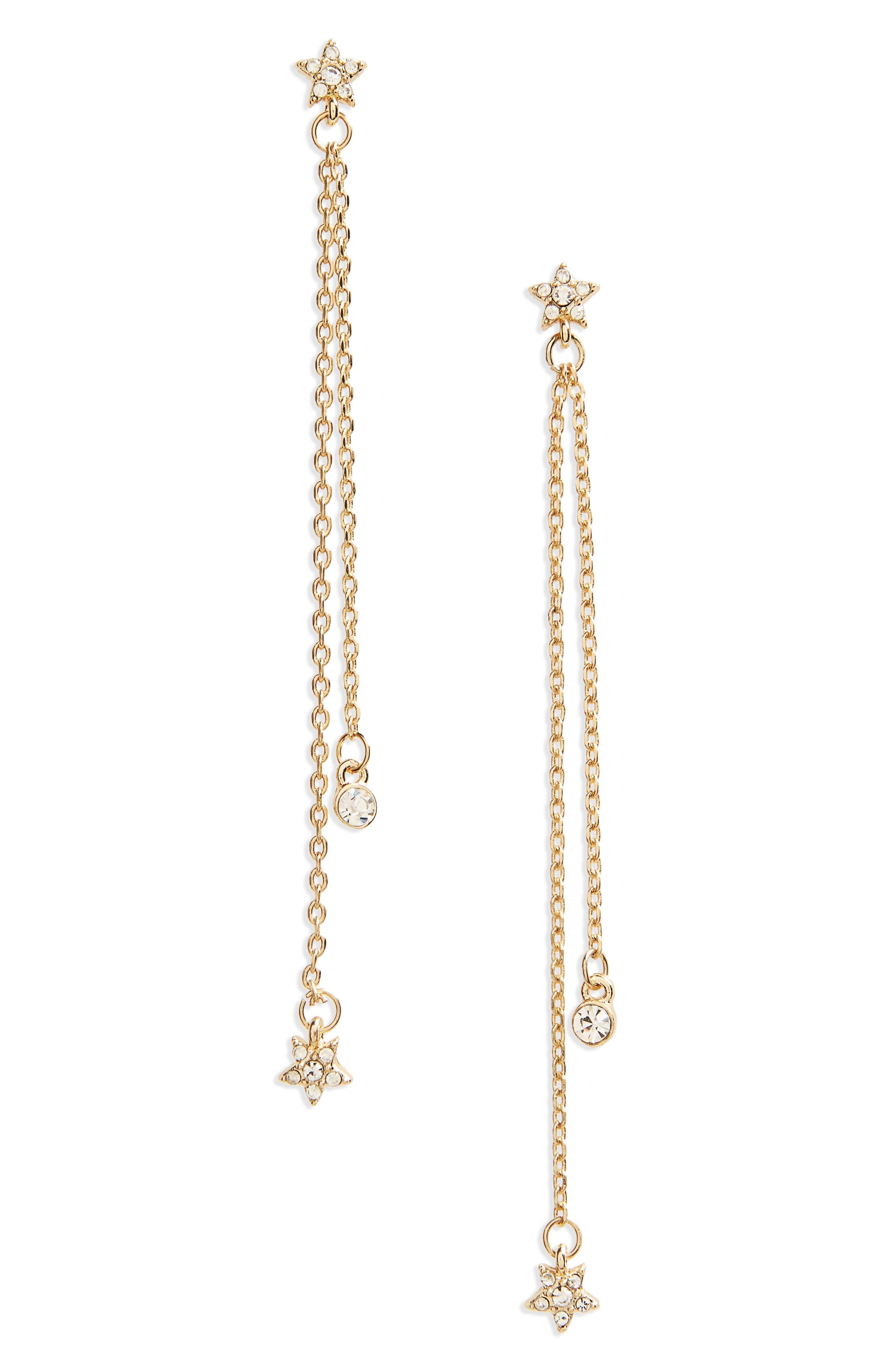 Star Linear Earrings,                         Main,                         color, Gold