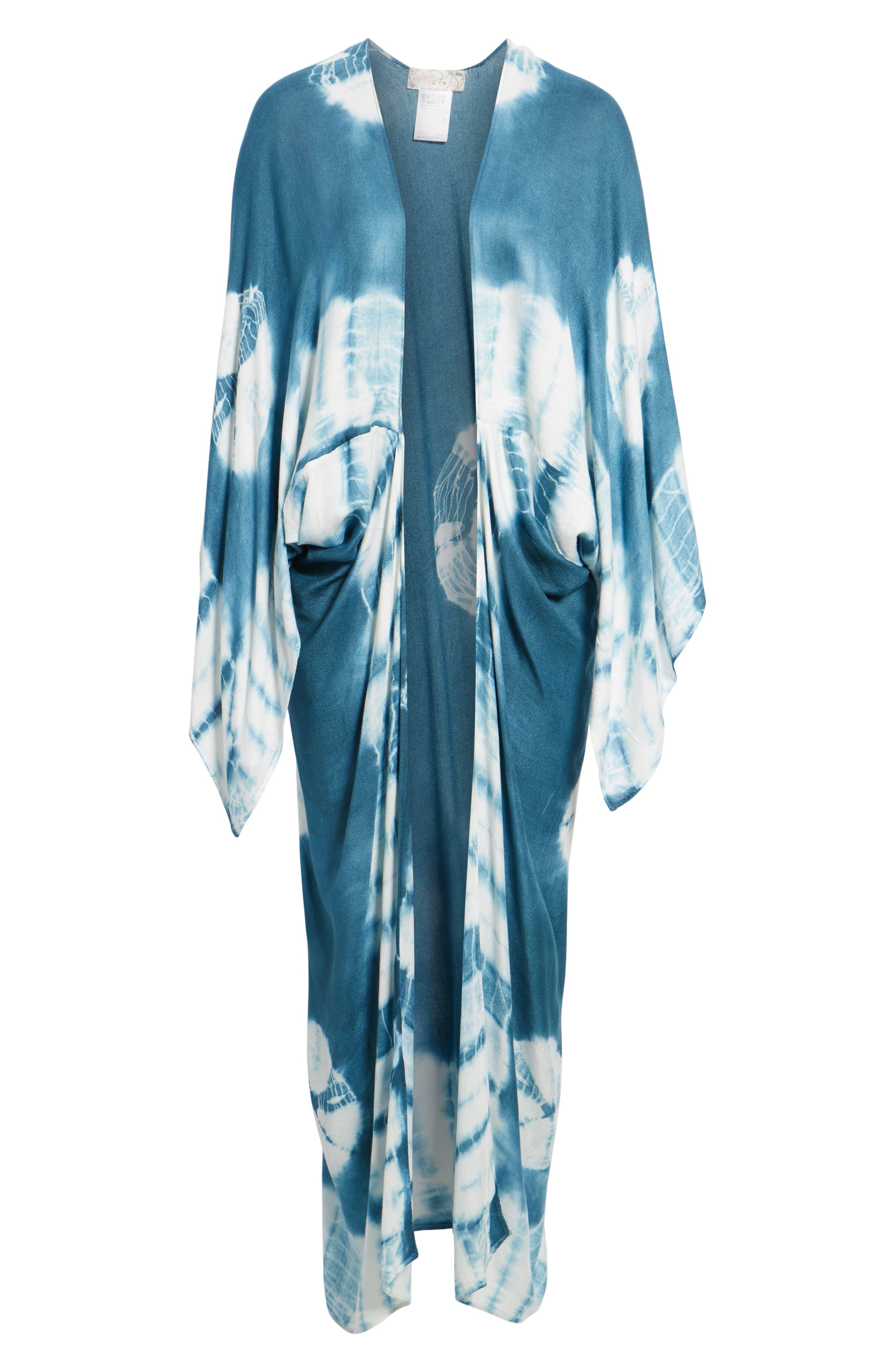 Spellbound Tie Dye Kimono Duster,                             Alternate thumbnail 6, color,                             Ocean