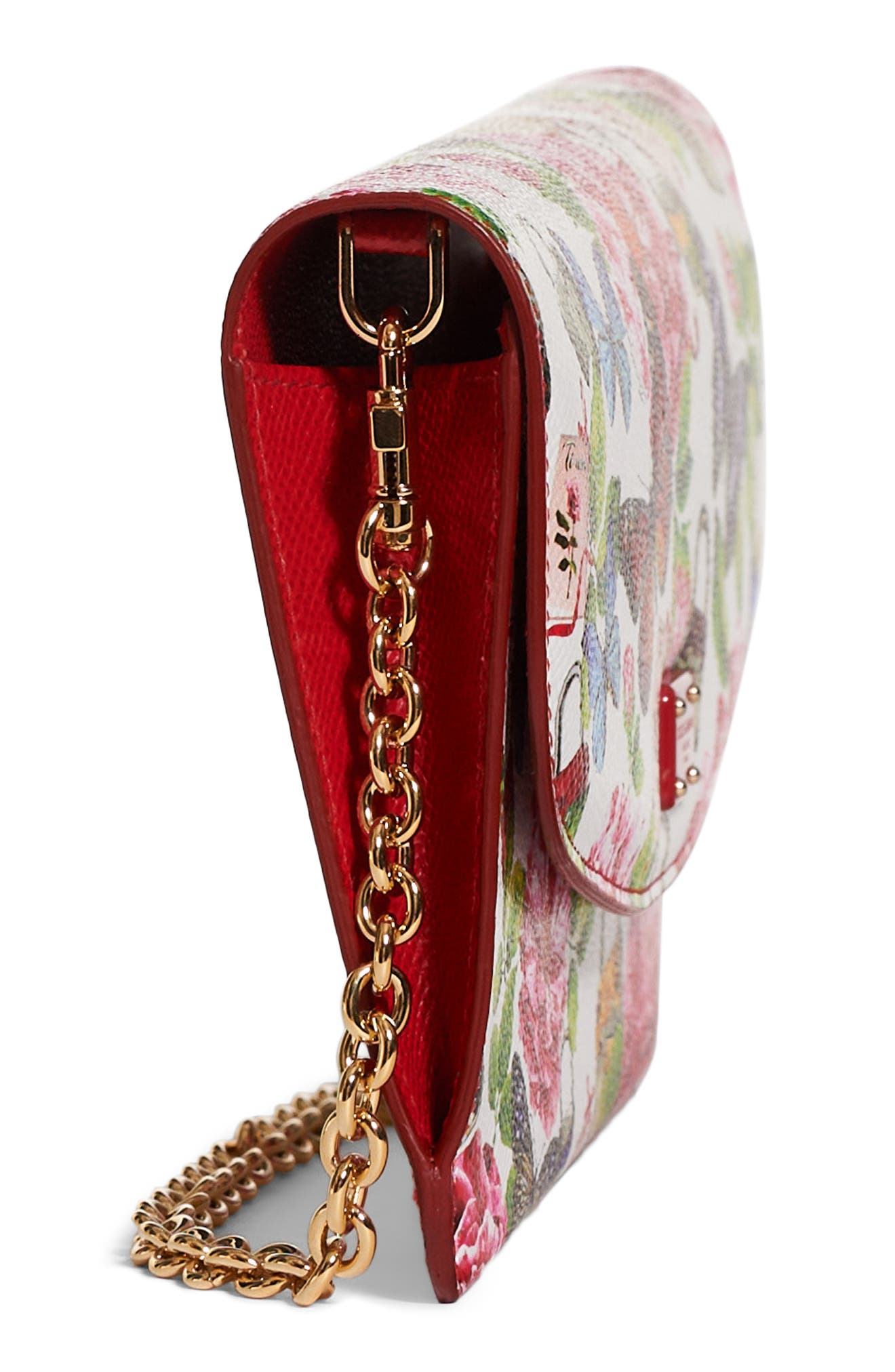 Alternate Image 4  - Dolce&Gabbana Floral Print Leather Wallet on a Chain