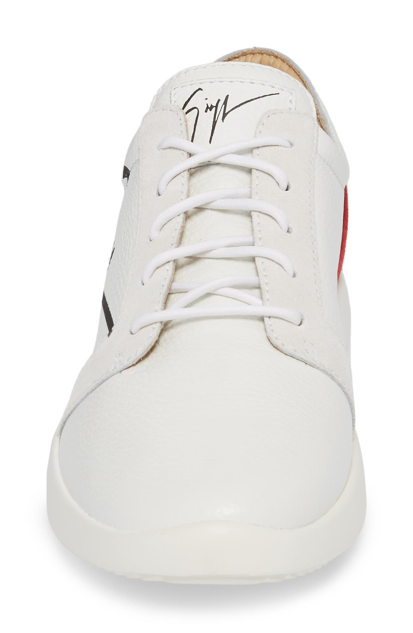 Signature Sneaker,                             Alternate thumbnail 4, color,                             White W/ Red Counter