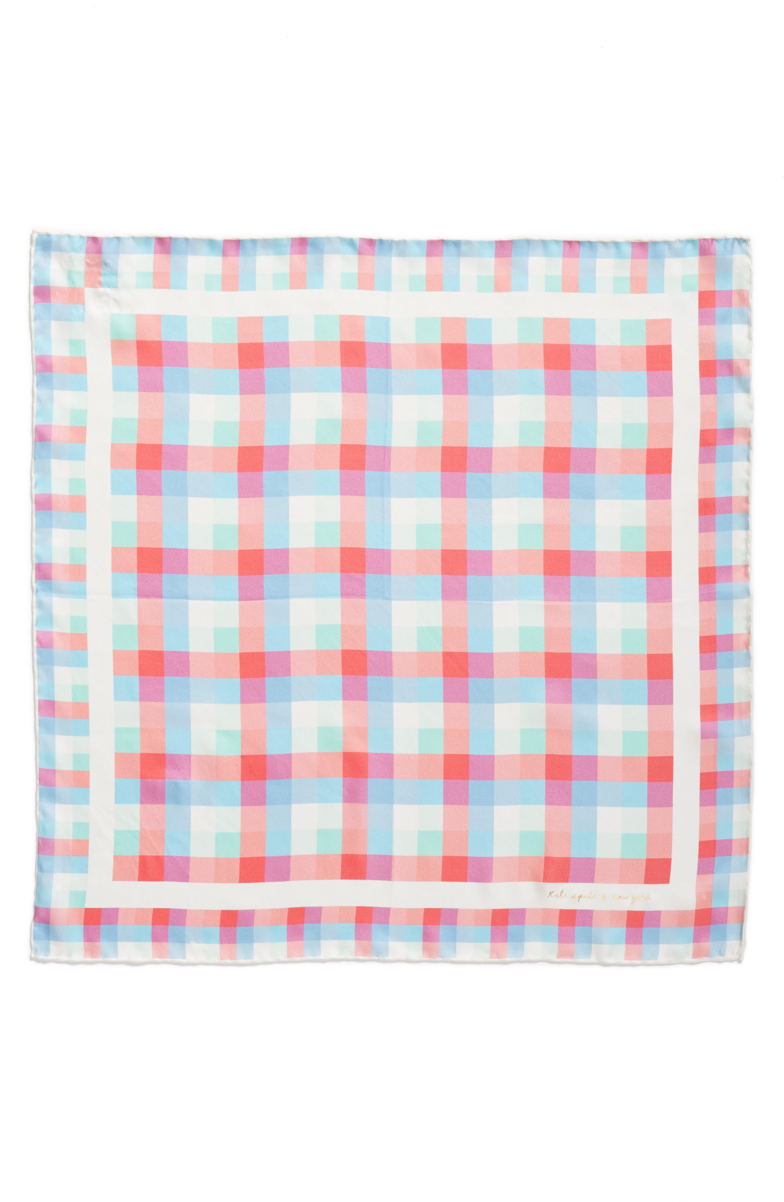 madras plaid silk bandana,                             Alternate thumbnail 2, color,                             Cream
