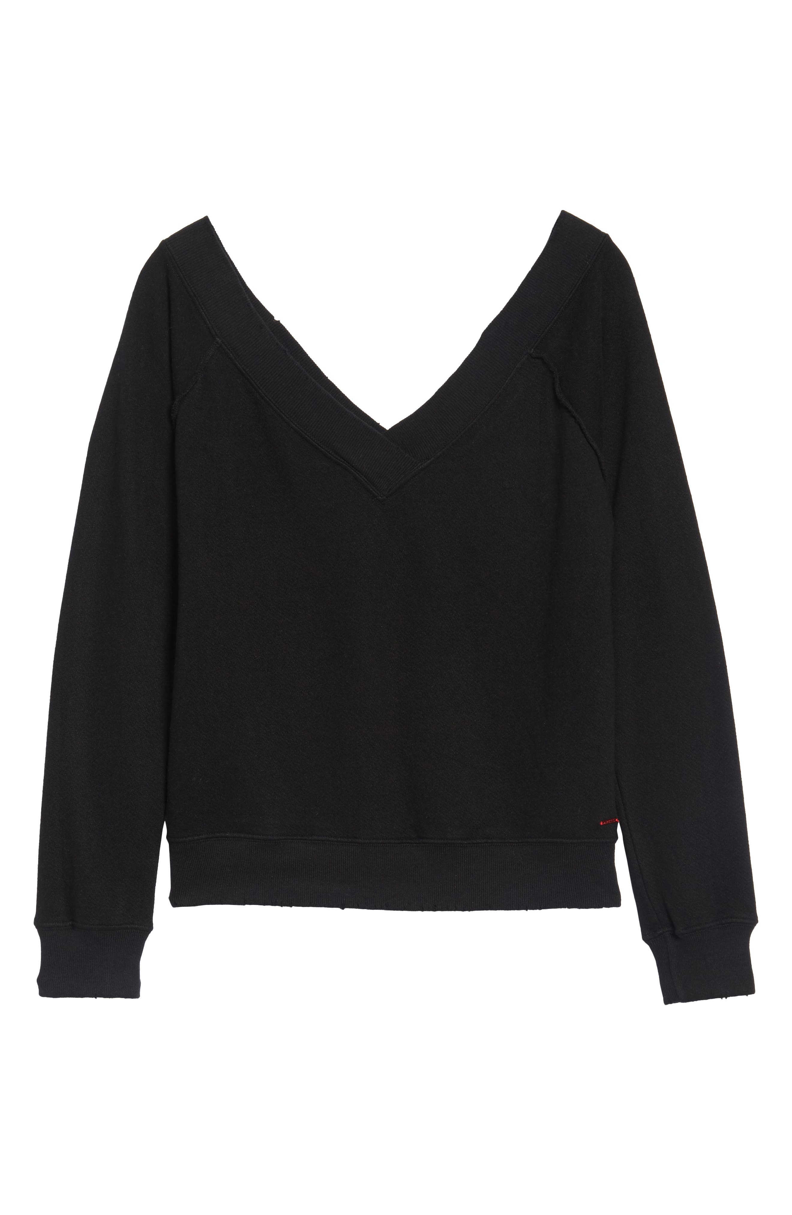 Mayer V-Neck Sweatshirt,                             Alternate thumbnail 6, color,                             Black Cat