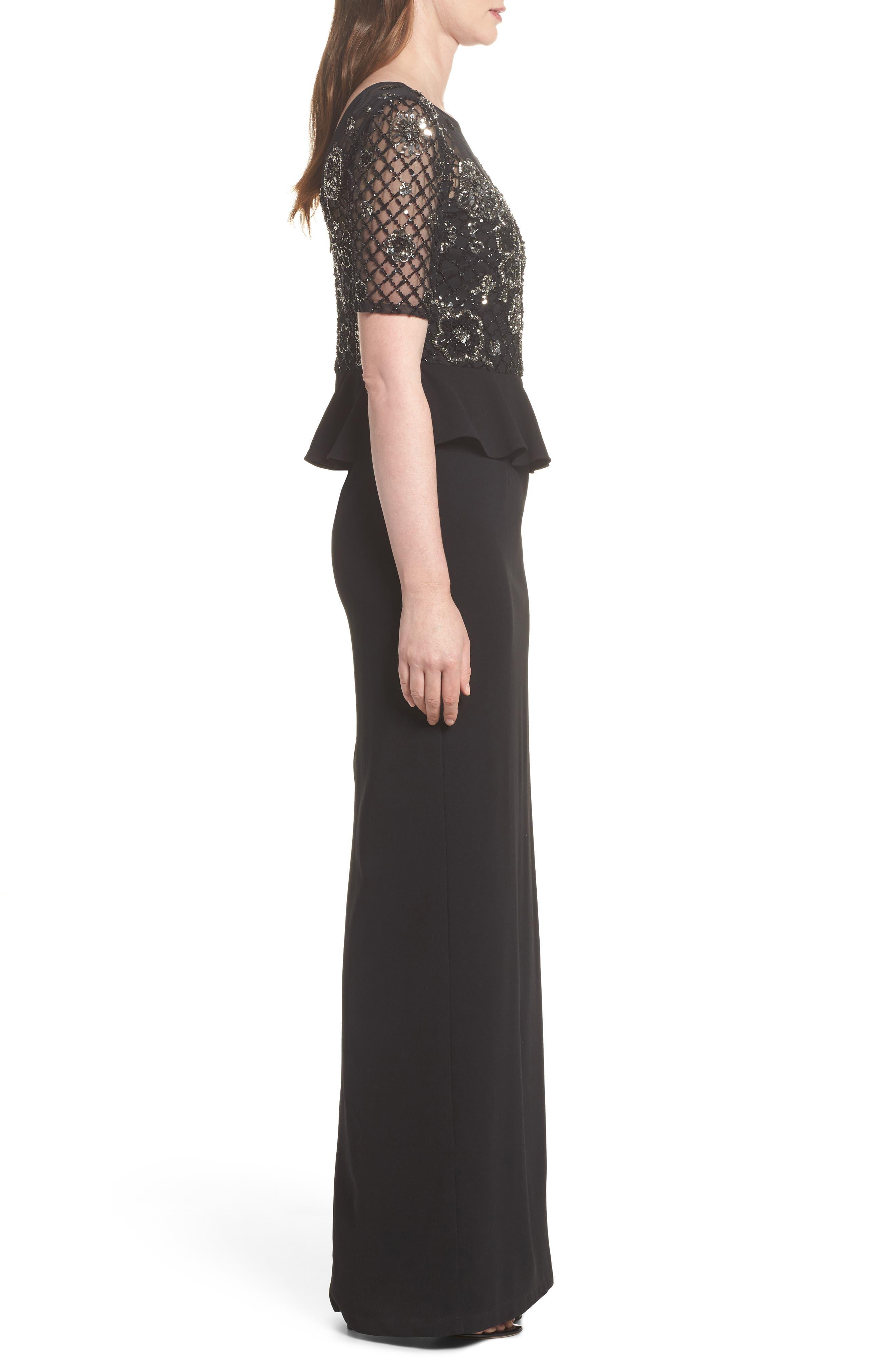 Sequin Peplum Waist Column Gown,                             Alternate thumbnail 3, color,                             Black/ Mercury
