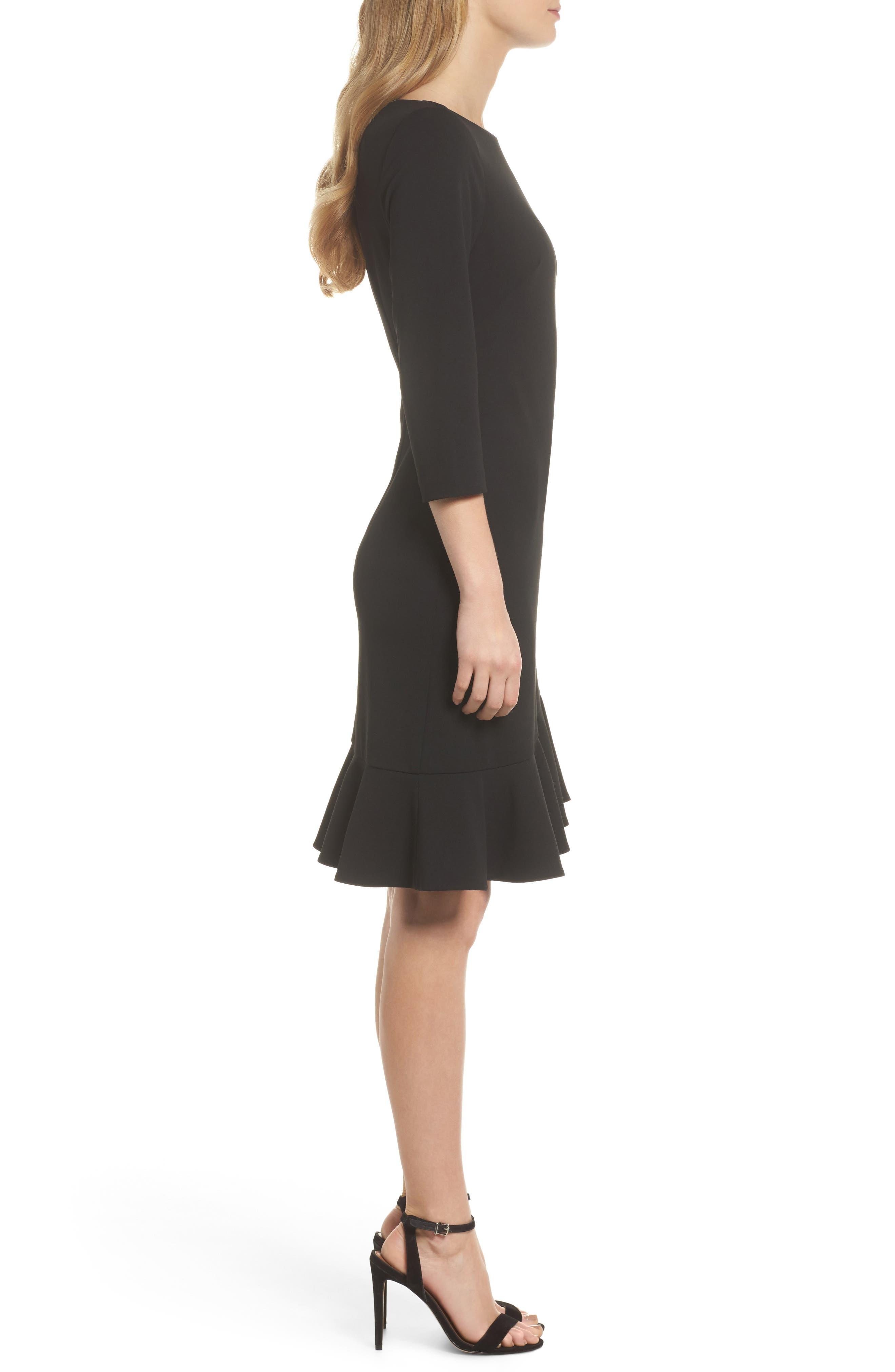 Crepe Ruffle Hem Body-Con Dress,                             Alternate thumbnail 3, color,                             Black