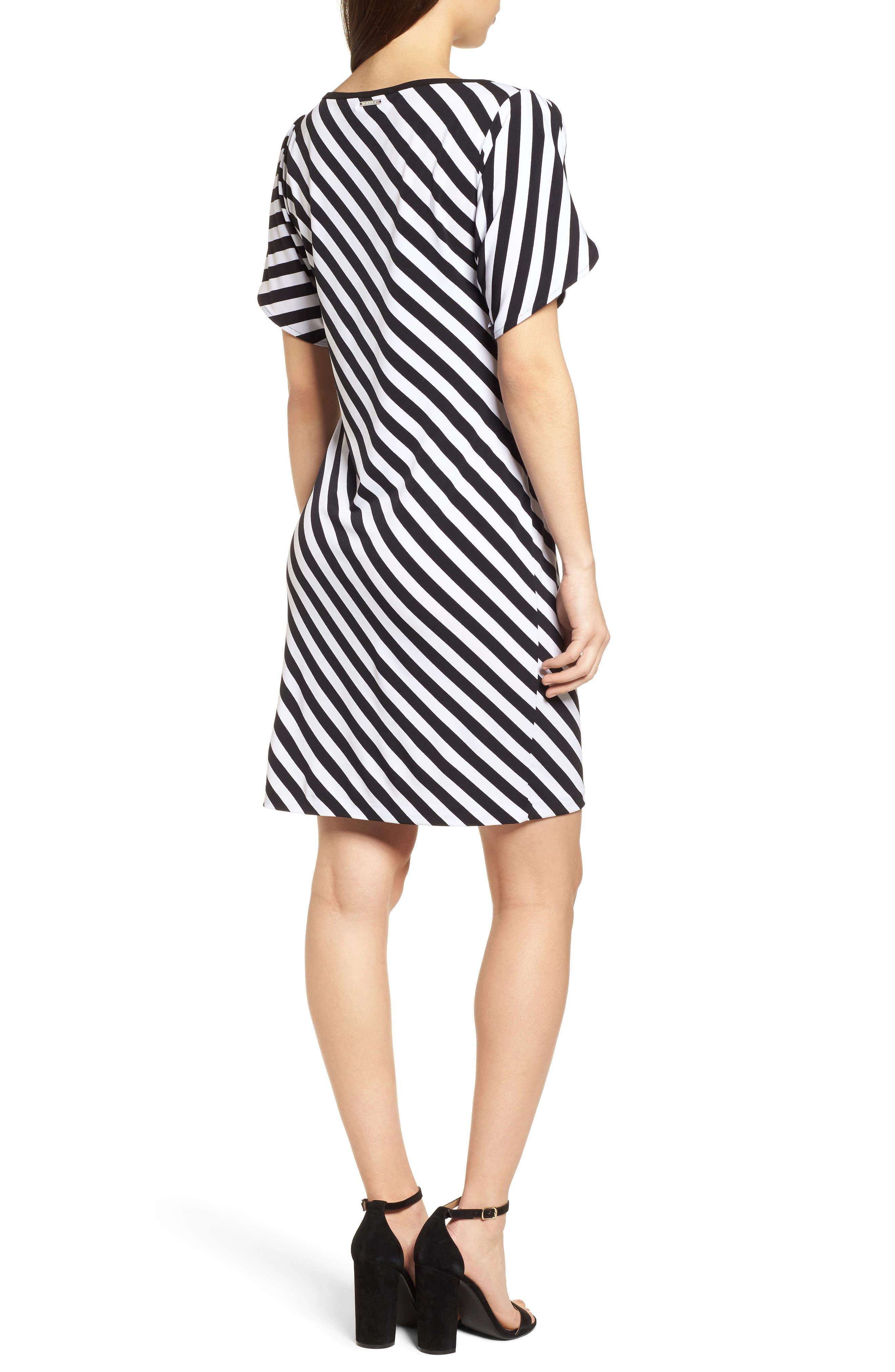 Tulip Sleeve Stripe Dress,                             Alternate thumbnail 2, color,                             Black/ White