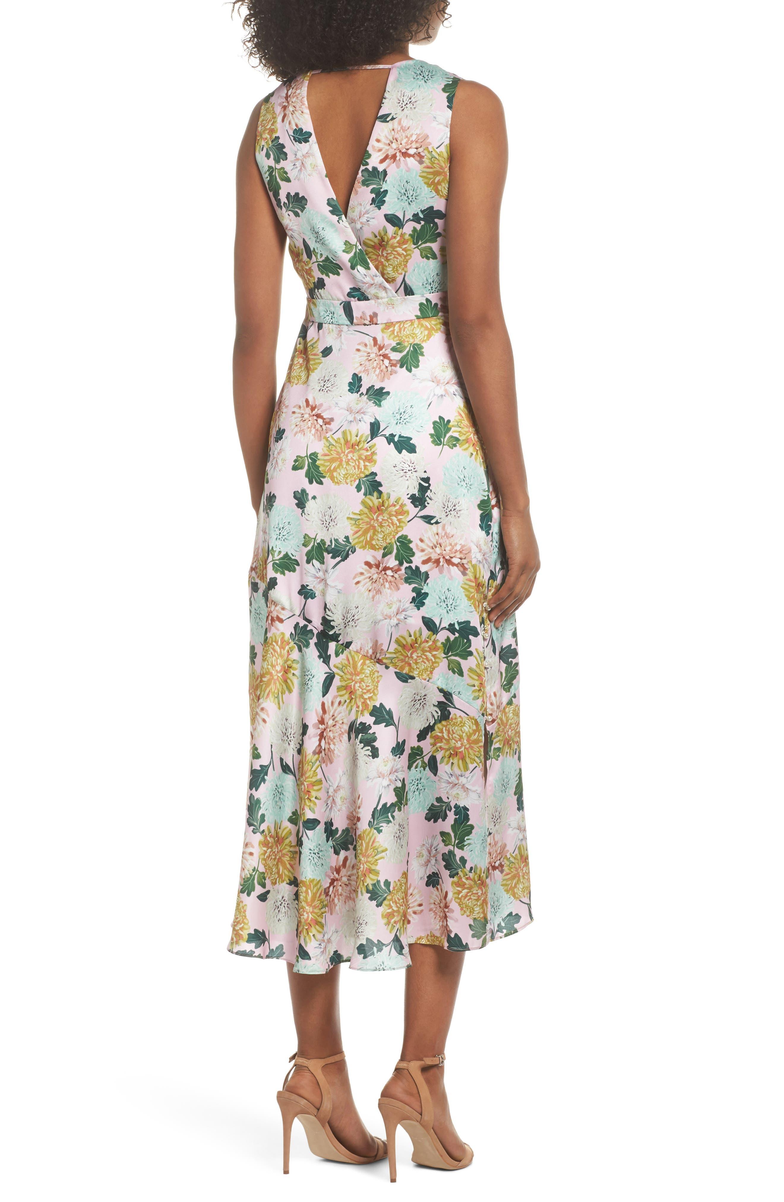 Vintage Floral Midi Dress,                             Alternate thumbnail 2, color,                             Pink Multi