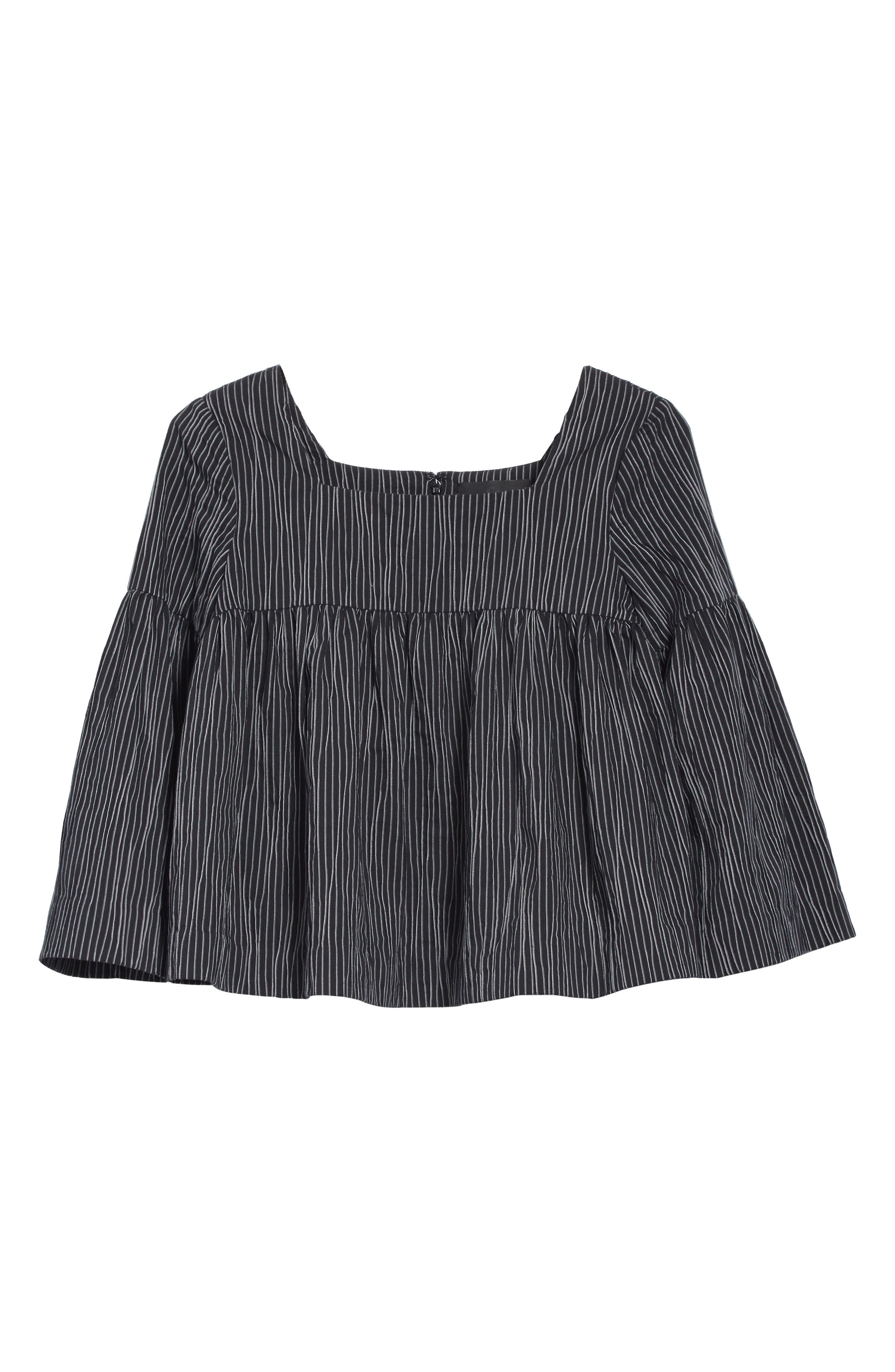Stripe Crinkle Cotton Blend Swing Top,                             Alternate thumbnail 6, color,                             Black/ White Stripe
