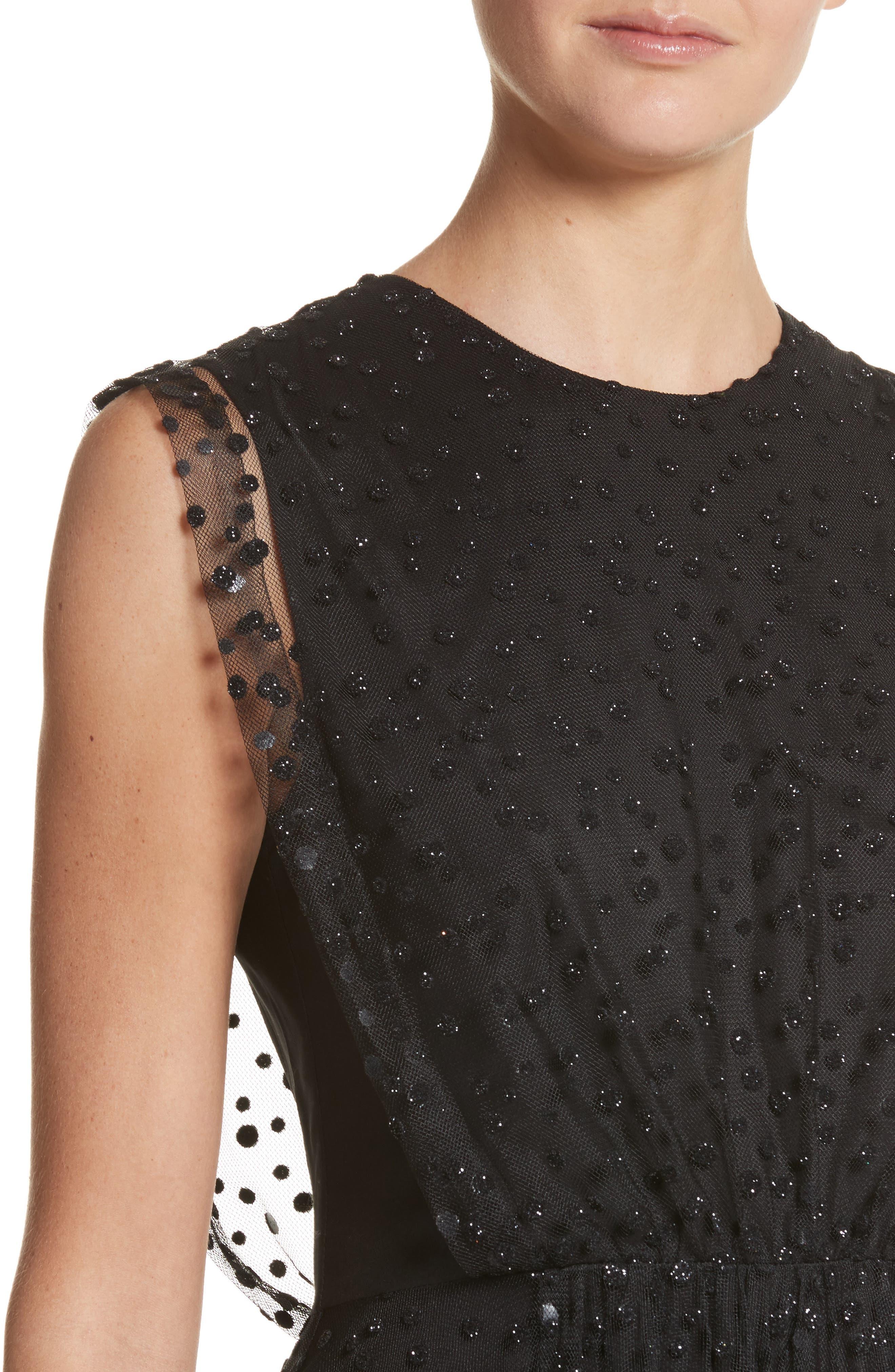 Sparkle Dot Tulle Midi Dress,                             Alternate thumbnail 4, color,                             Black