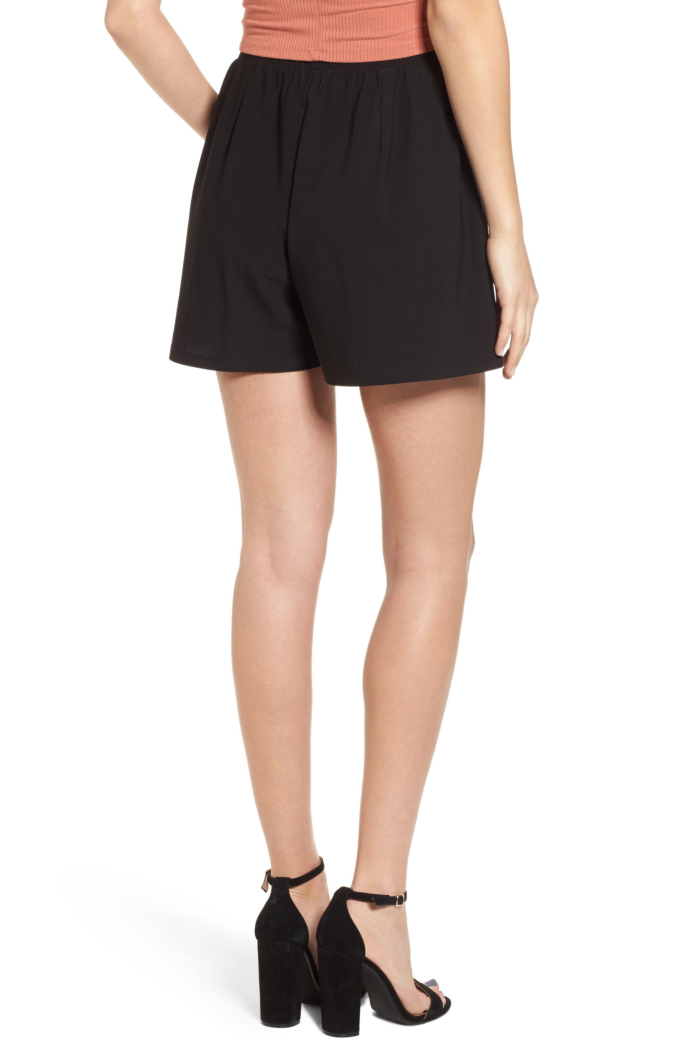 Pleat Front Shorts,                             Alternate thumbnail 2, color,                             Black