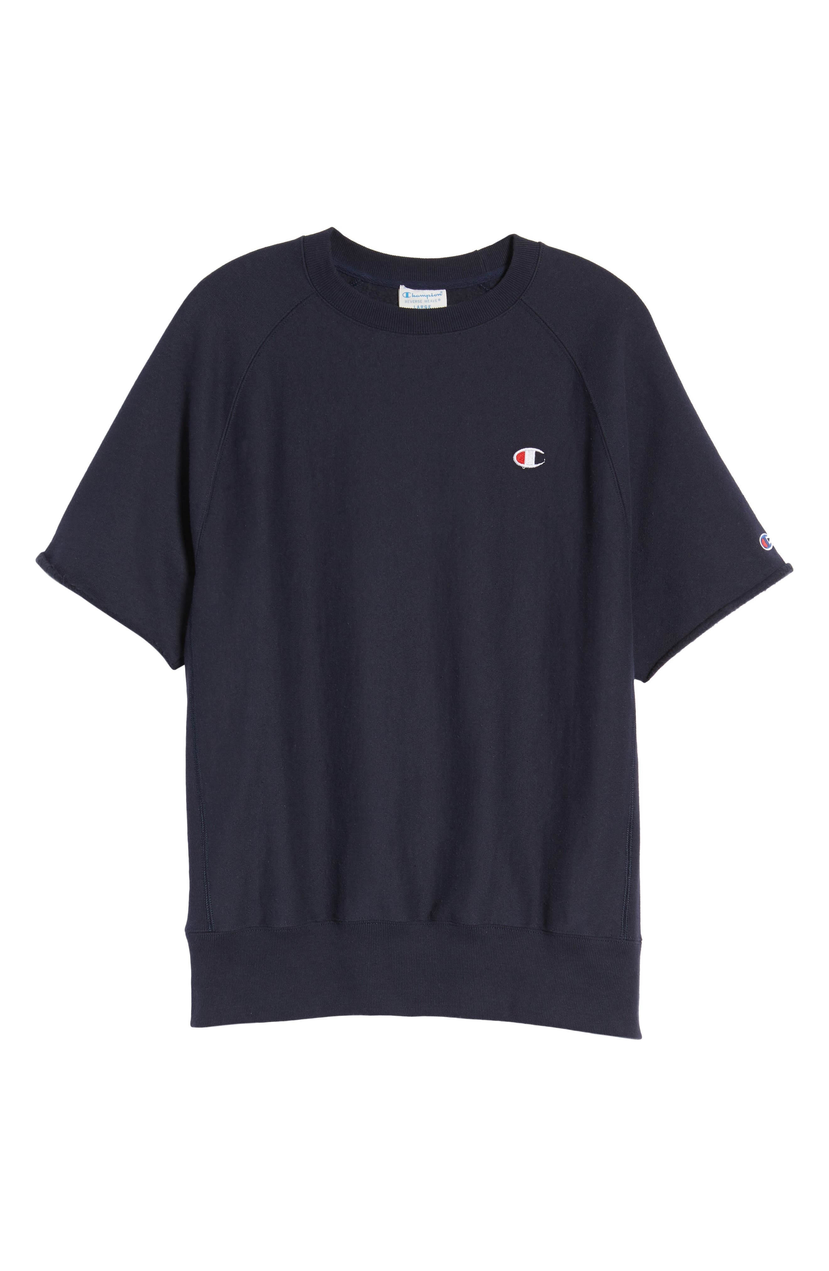 Reverse Weave Short Sleeve Sweatshirt,                             Alternate thumbnail 6, color,                             Navy