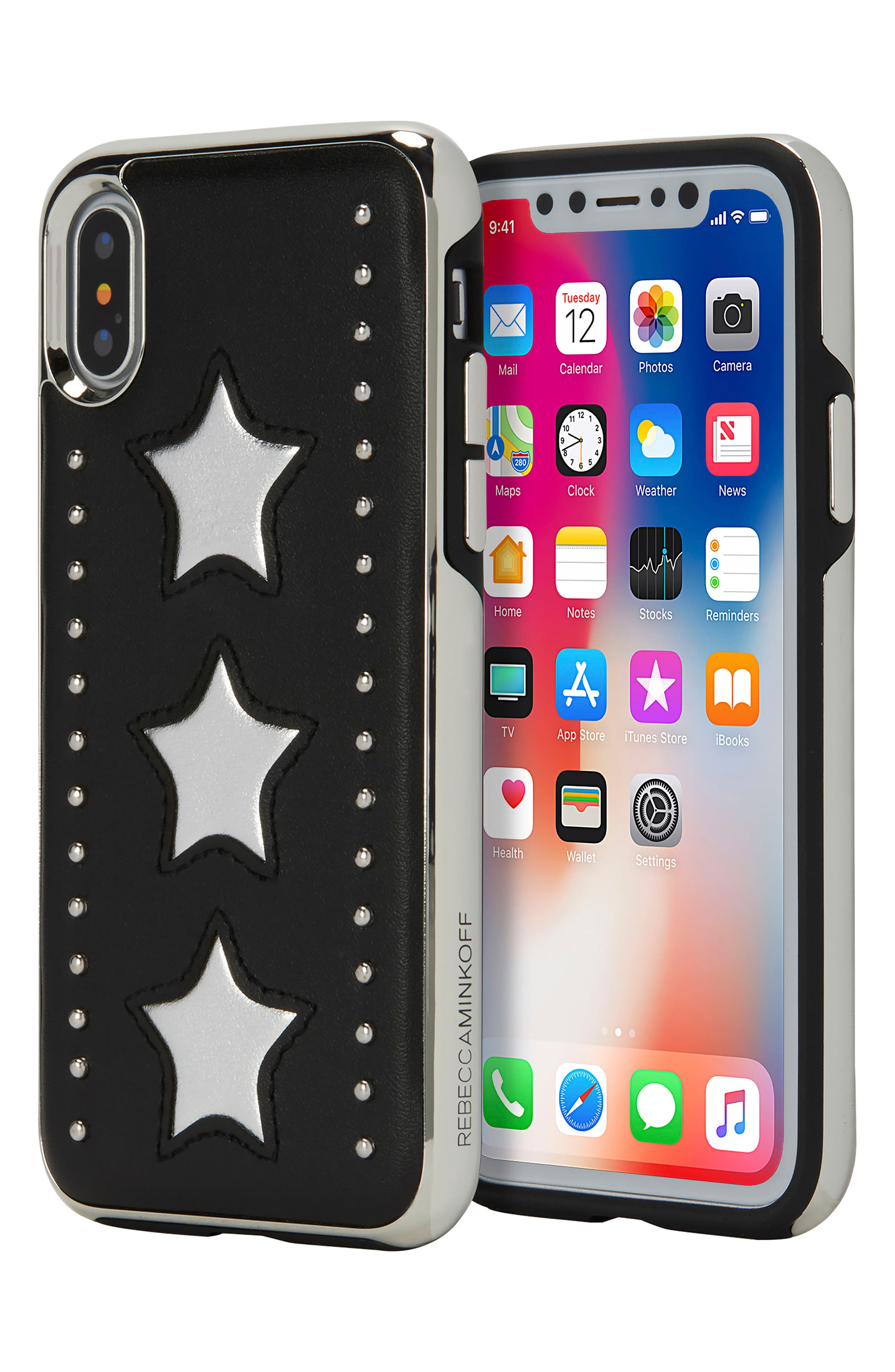 Leather Star iPhone X Case,                             Alternate thumbnail 5, color,                             Silver/ Black