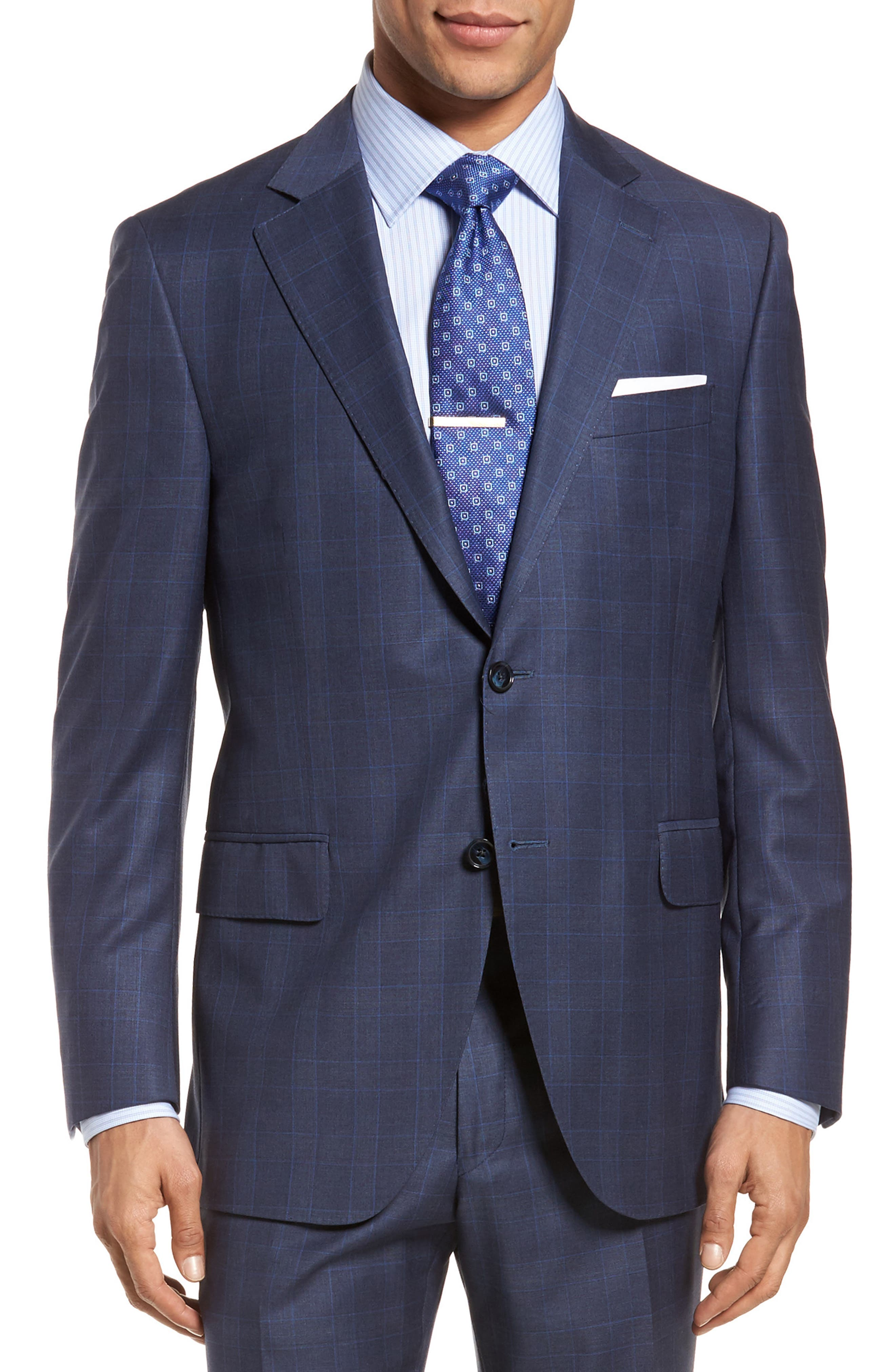 Classic Fit Windowpane Wool Suit,                             Alternate thumbnail 5, color,                             Blue