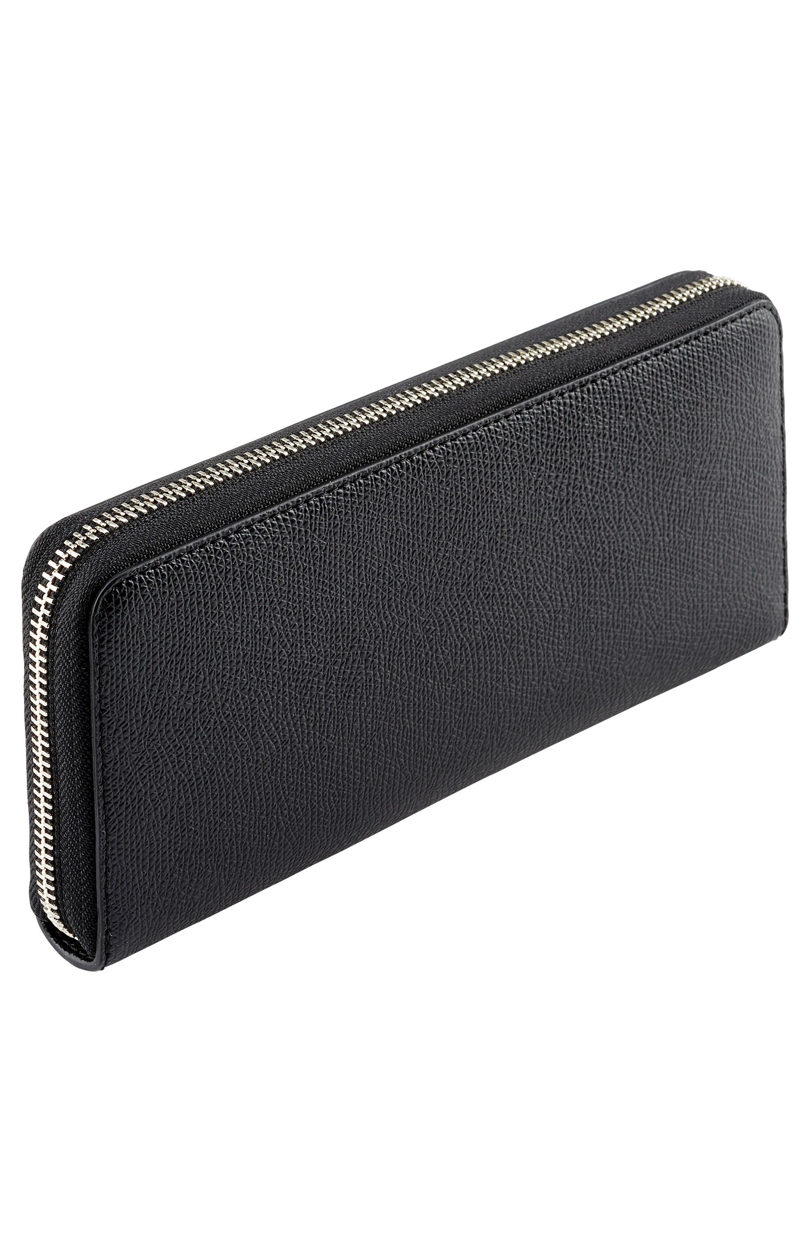Zip Around Continental Wallet,                             Alternate thumbnail 3, color,                             Black