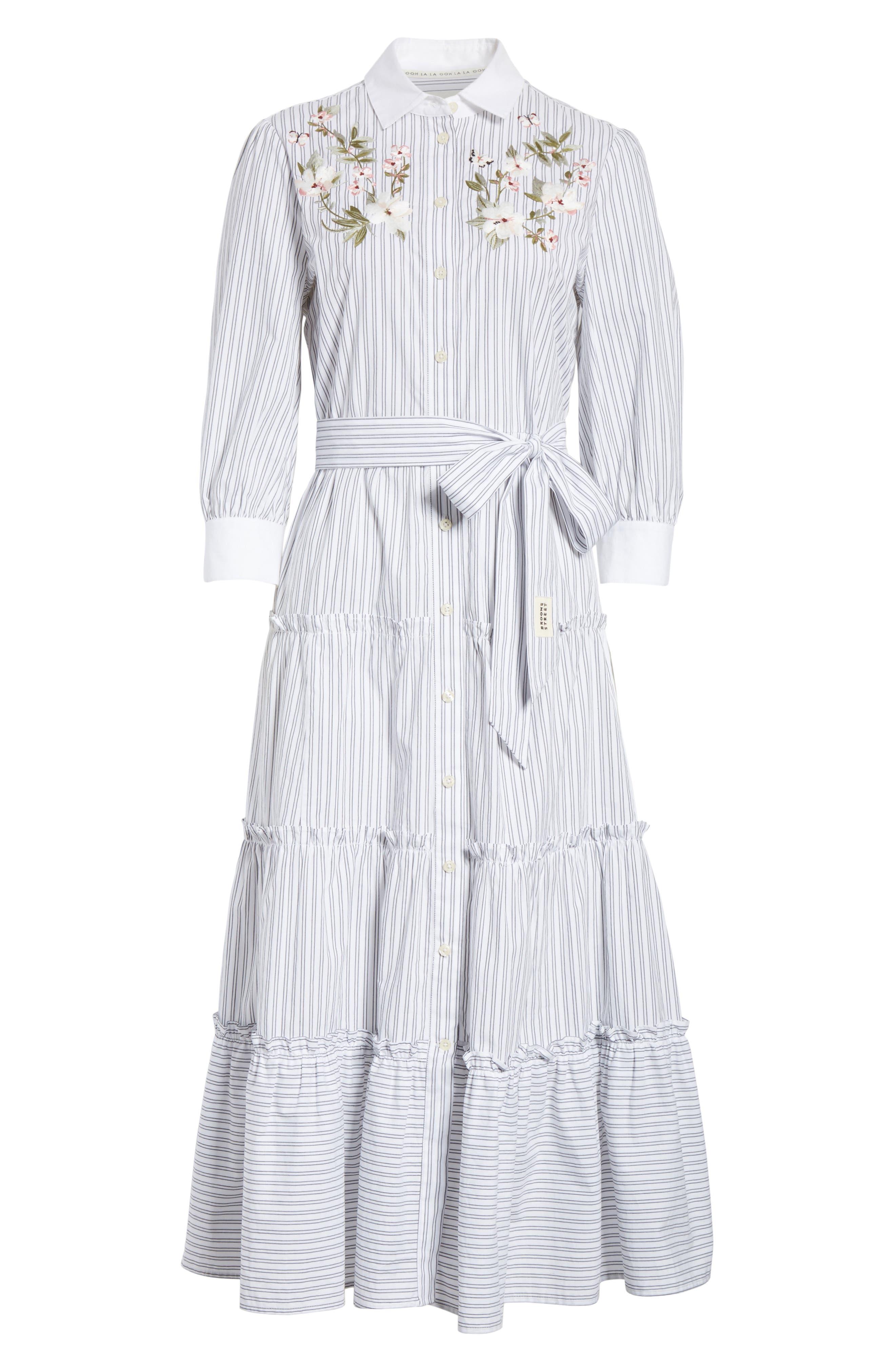 embroidered ruffle trim shirtdress,                             Alternate thumbnail 6, color,                             Fresh White/ Black