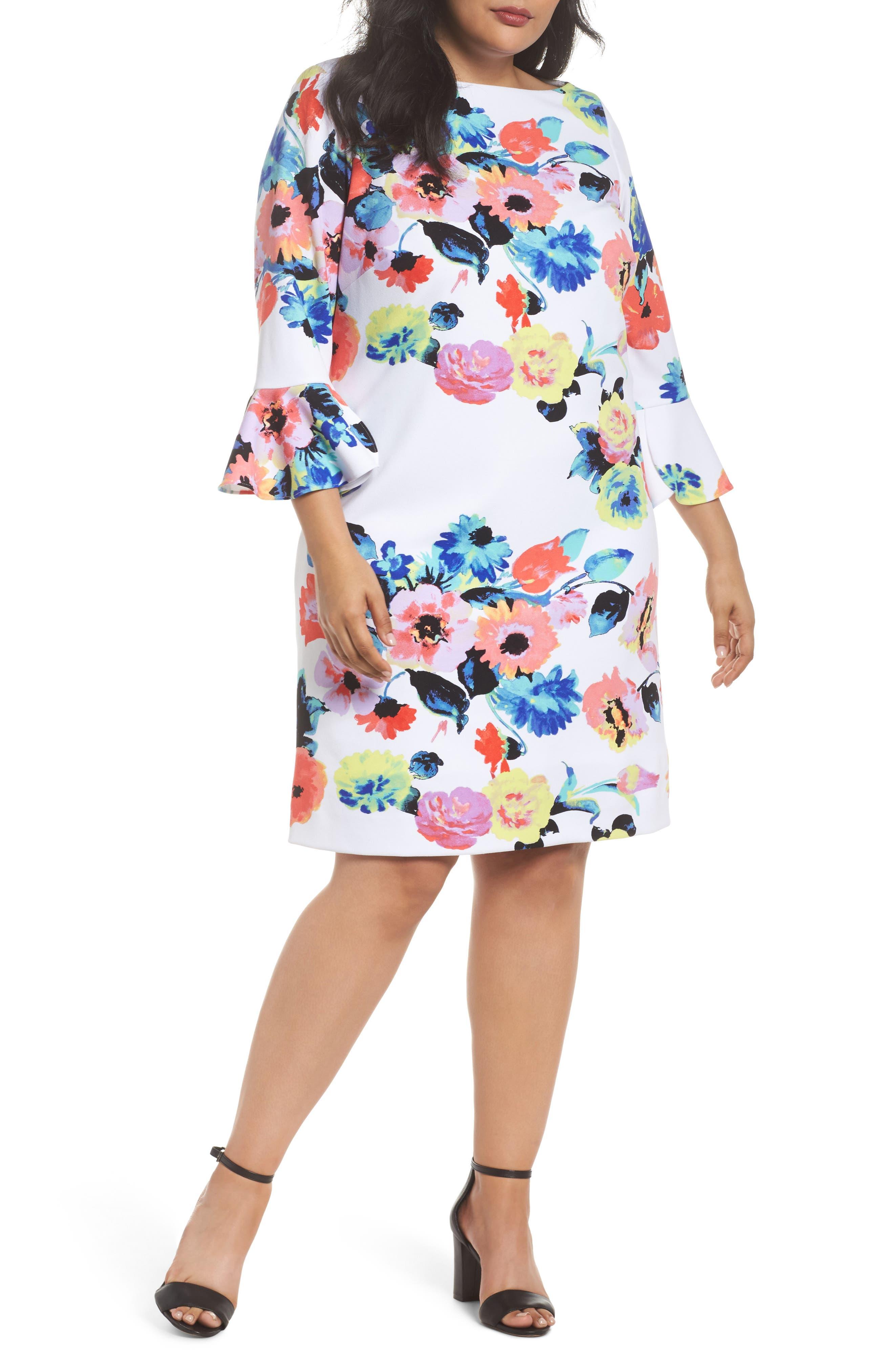 Tahari Floral Print Shift Dress (Plus Size)