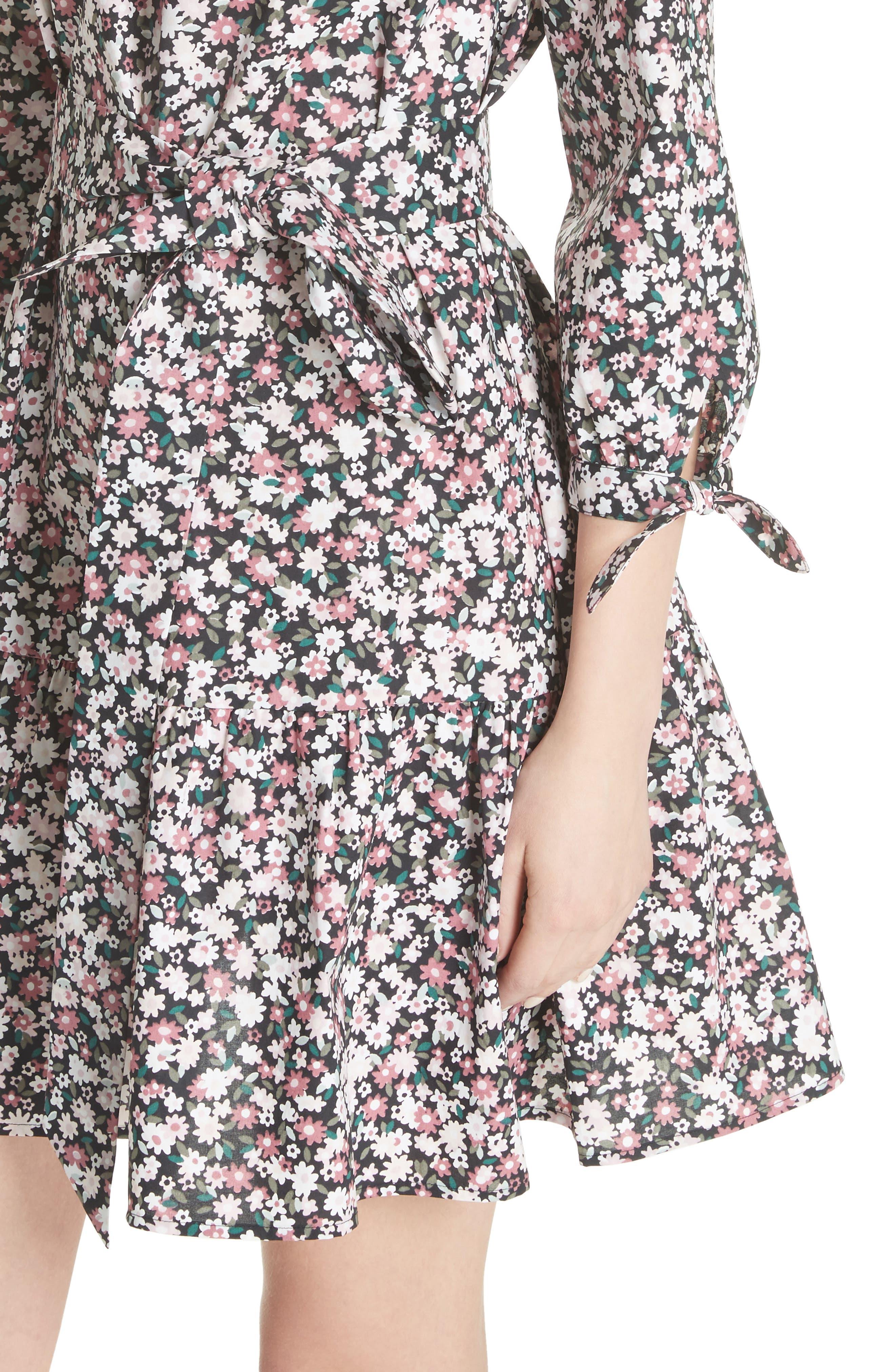 wildflower poplin dress,                             Alternate thumbnail 4, color,                             Black