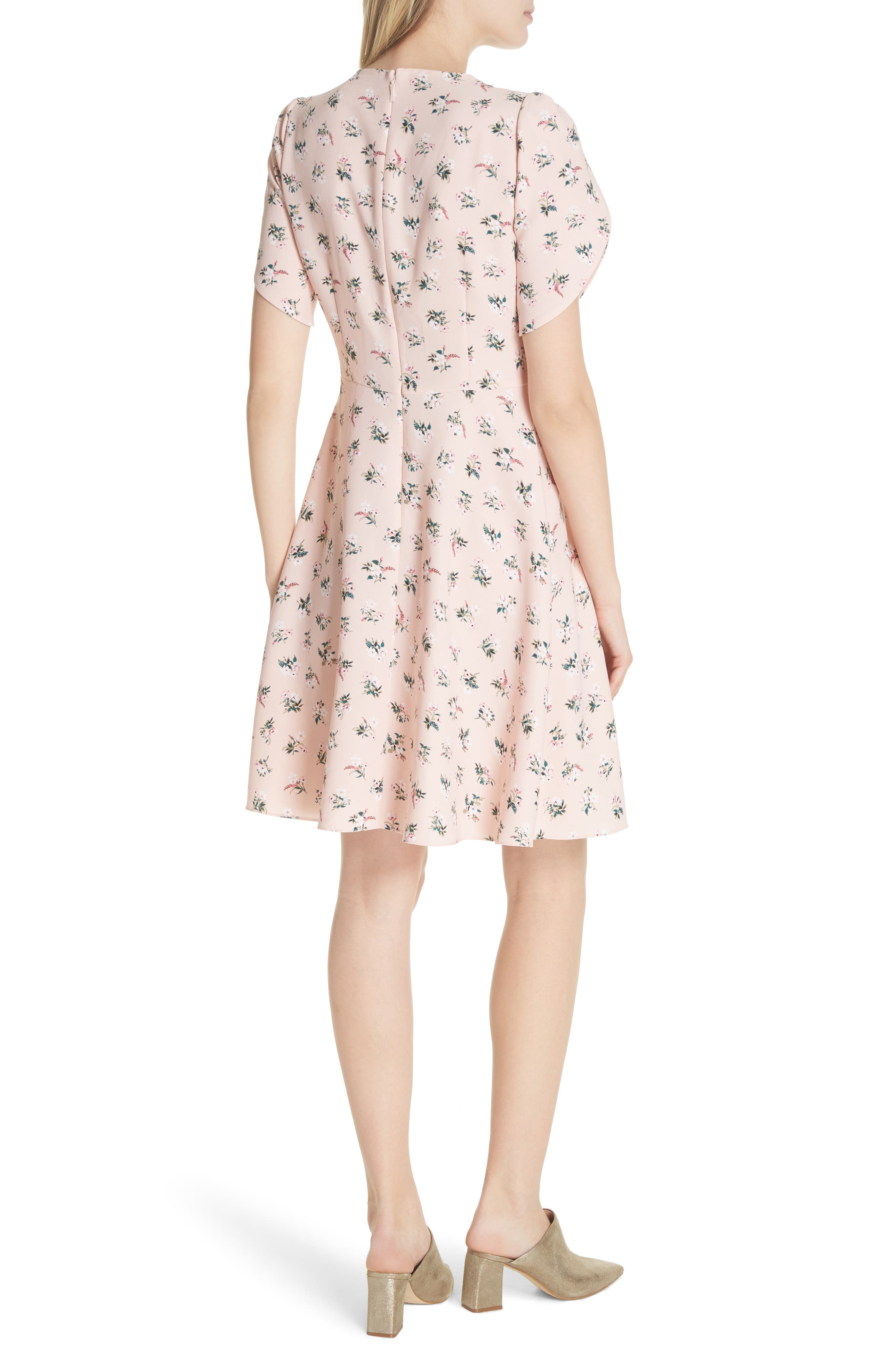 flora tulip sleeve dress,                             Alternate thumbnail 2, color,                             Cameo Pink